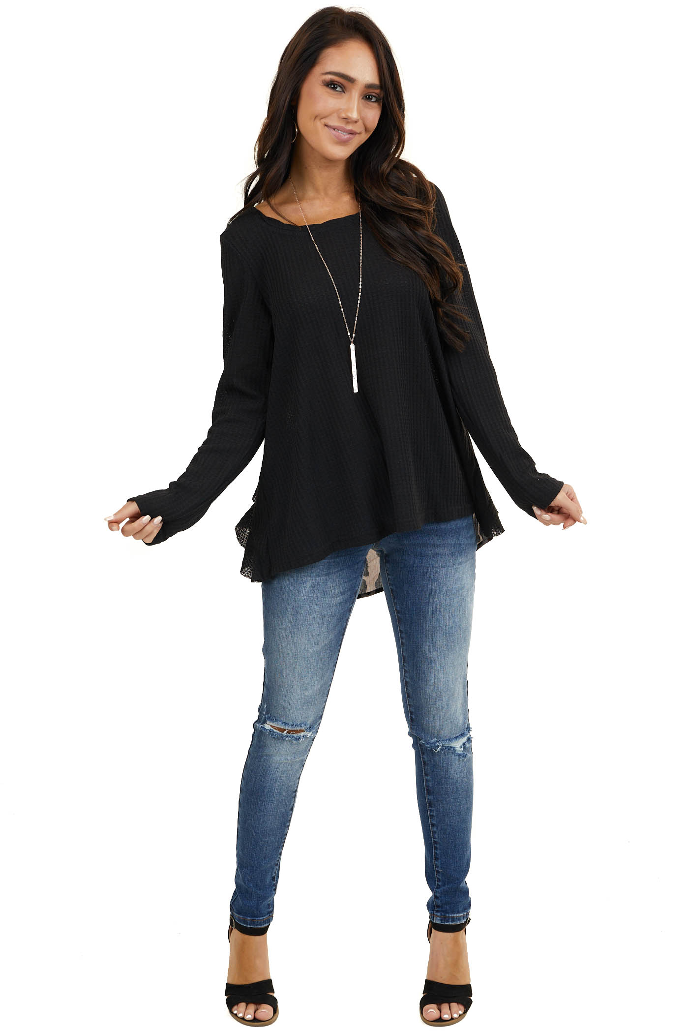 Black Long Sleeve Waffle Knit Top with Back Leopard Contrast