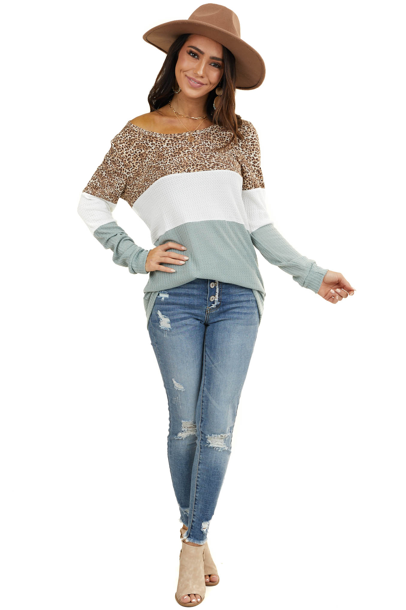 Sage and White Color Block Waffle Knit Top with Long Sleeves