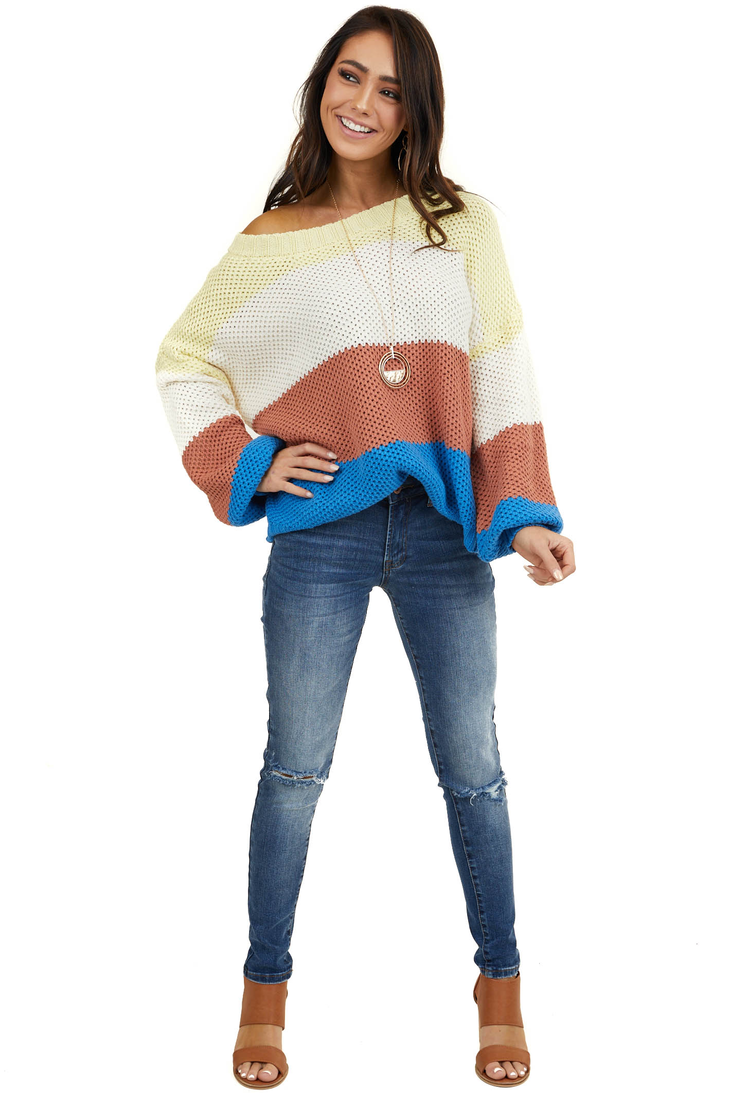 Lemon and Royal Blue Color Block Sweater with Bubble Sleeves