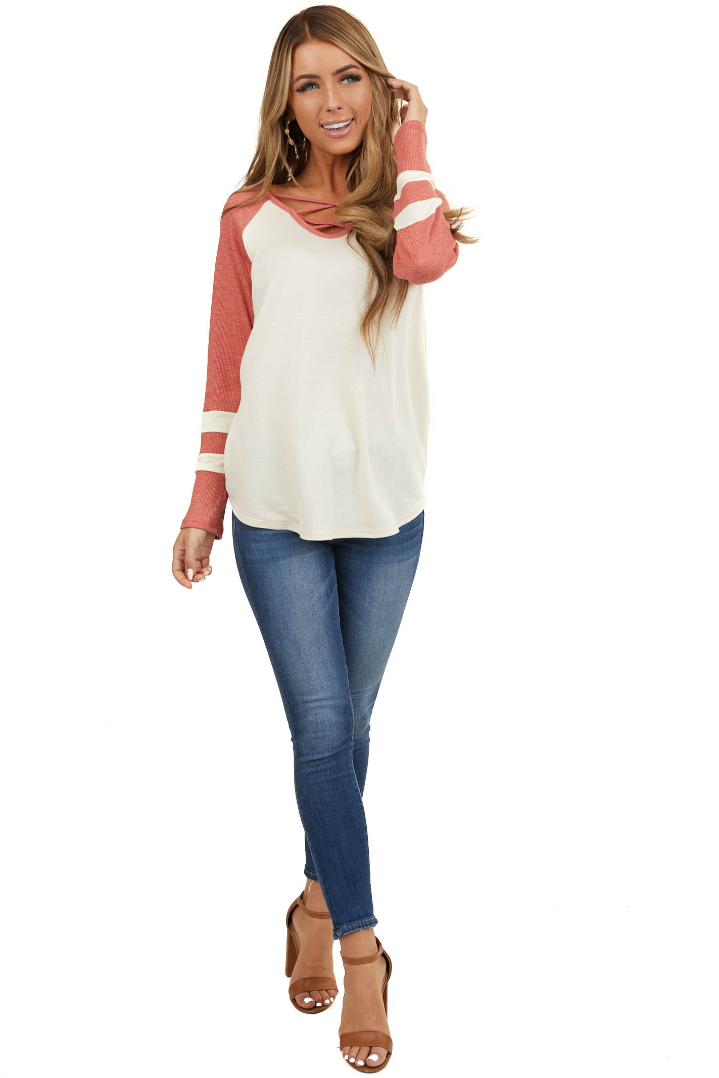 Cream Top with Dusty Red Waffle Knit Contrast Sleeves