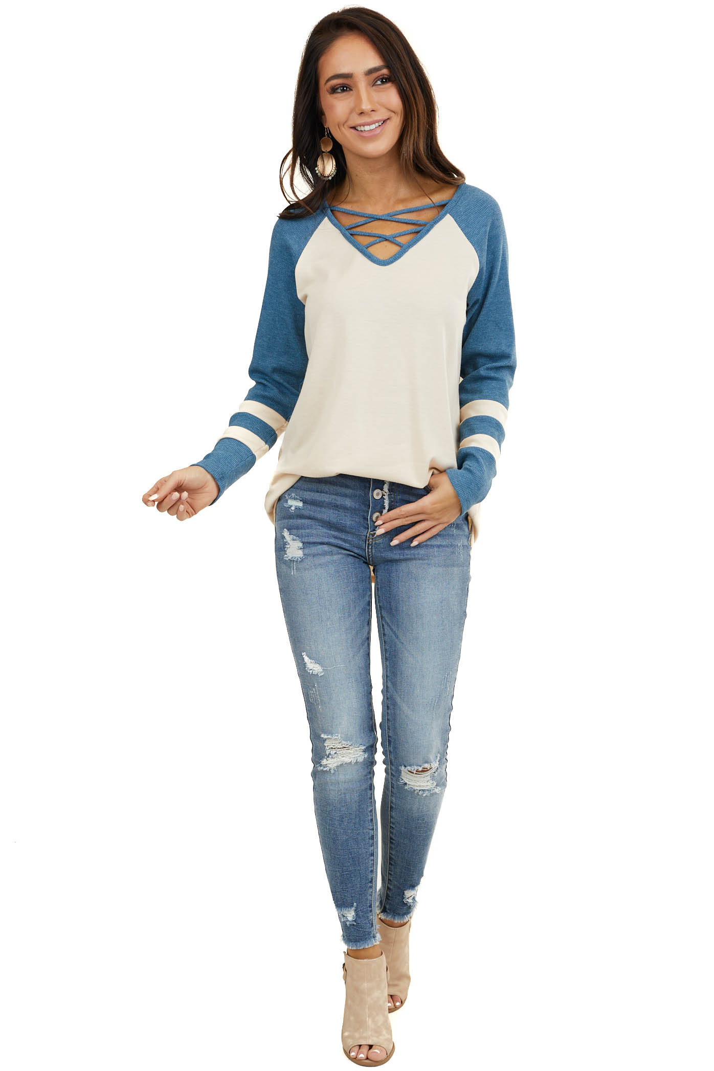 Cream Top with Ocean Waffle Knit Contrast Sleeves
