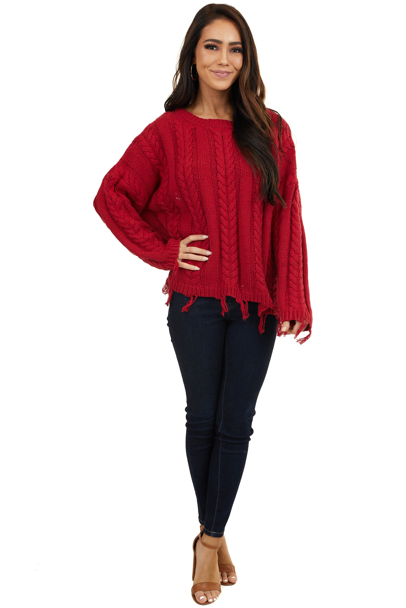 Maroon Heavyweight Multi Knit Sweater with Frayed Hems