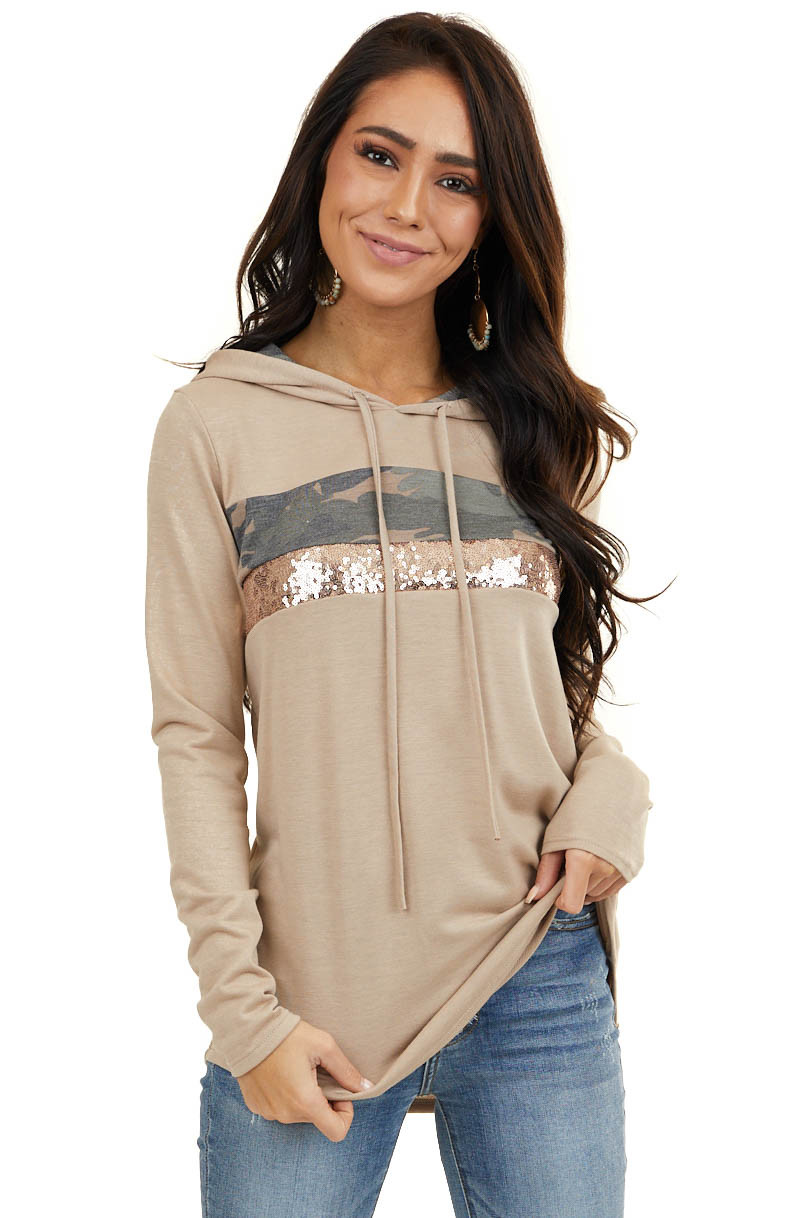 Latte Long Sleeve Hoodie with Camo and Sequin Contrast