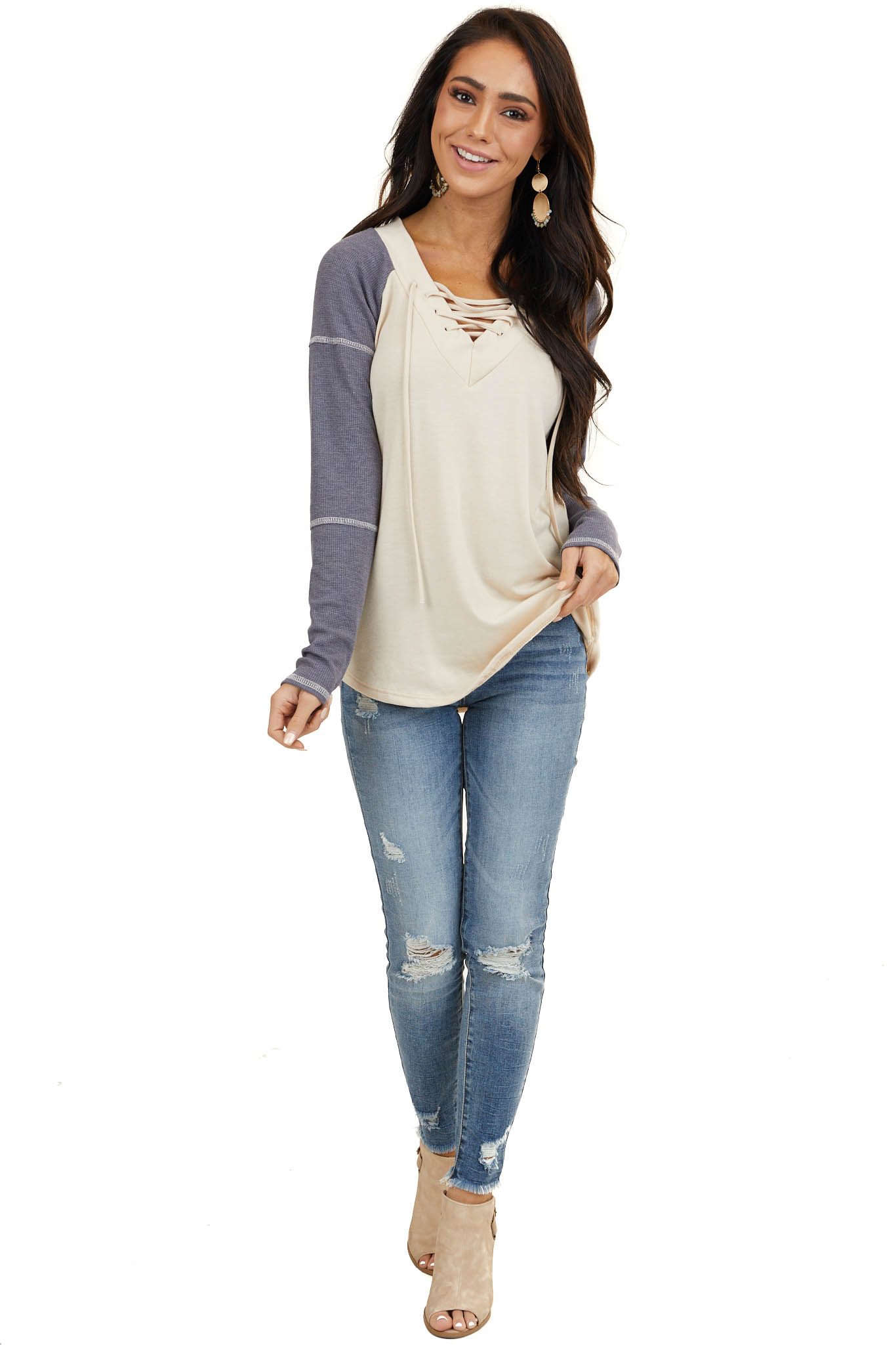 Light Latte Long Sleeve Top with Navy Contrast Sleeves