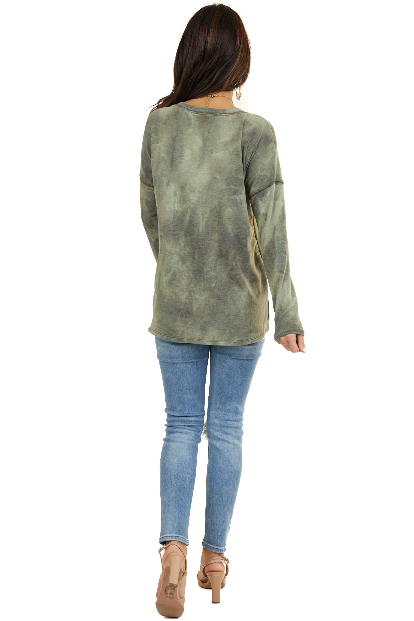 Dusty Olive Tie Dye Long Sleeve Top with Exposed Stitching
