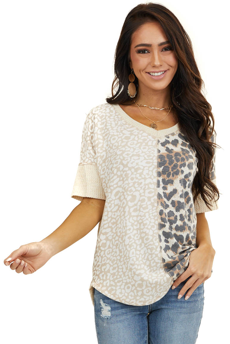 Beige Short Sleeve Waffle Knit Top with Leopard Colorblock