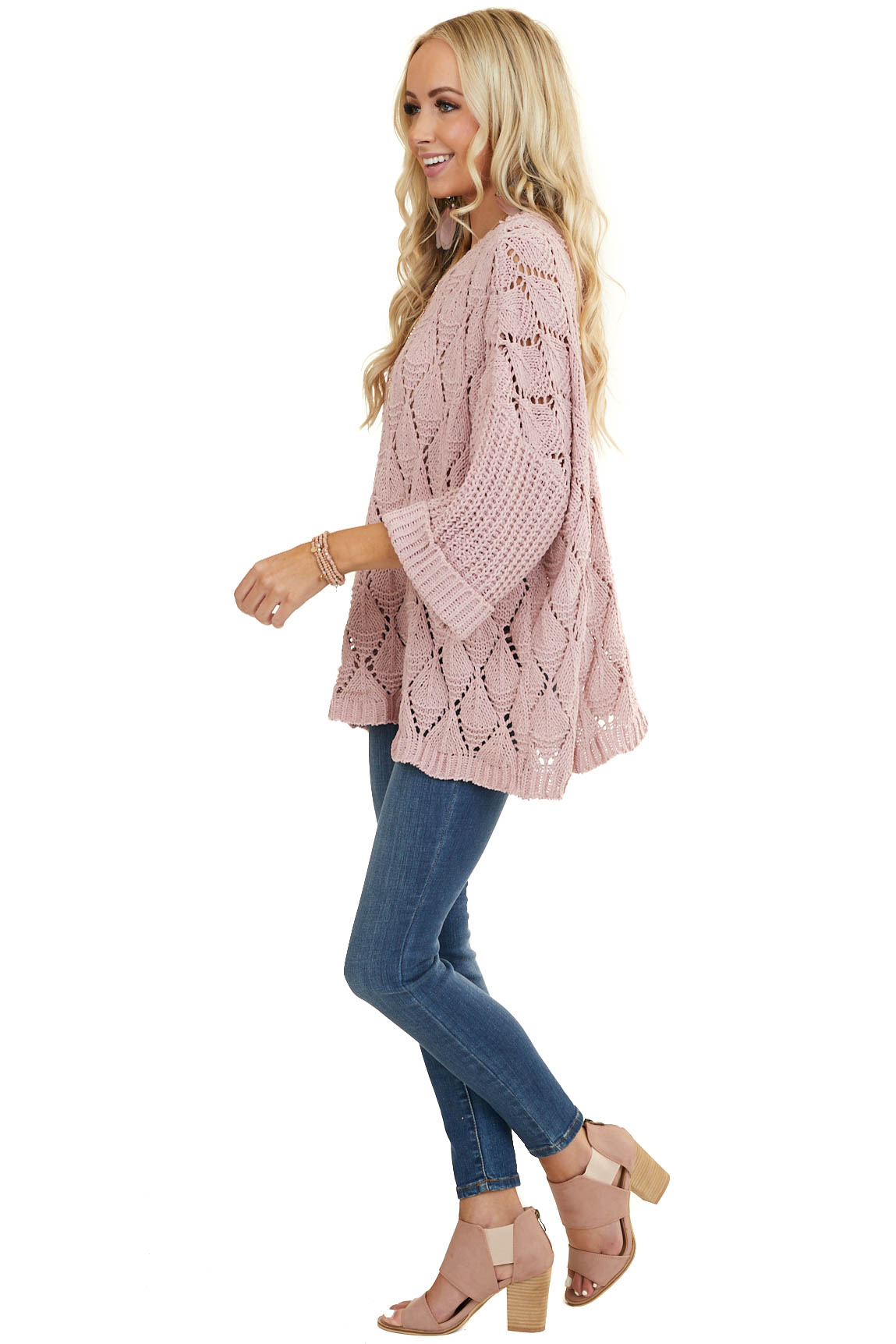 Dusty Blush Loose Knit Chenille Sweater with Cuffed Sleeves