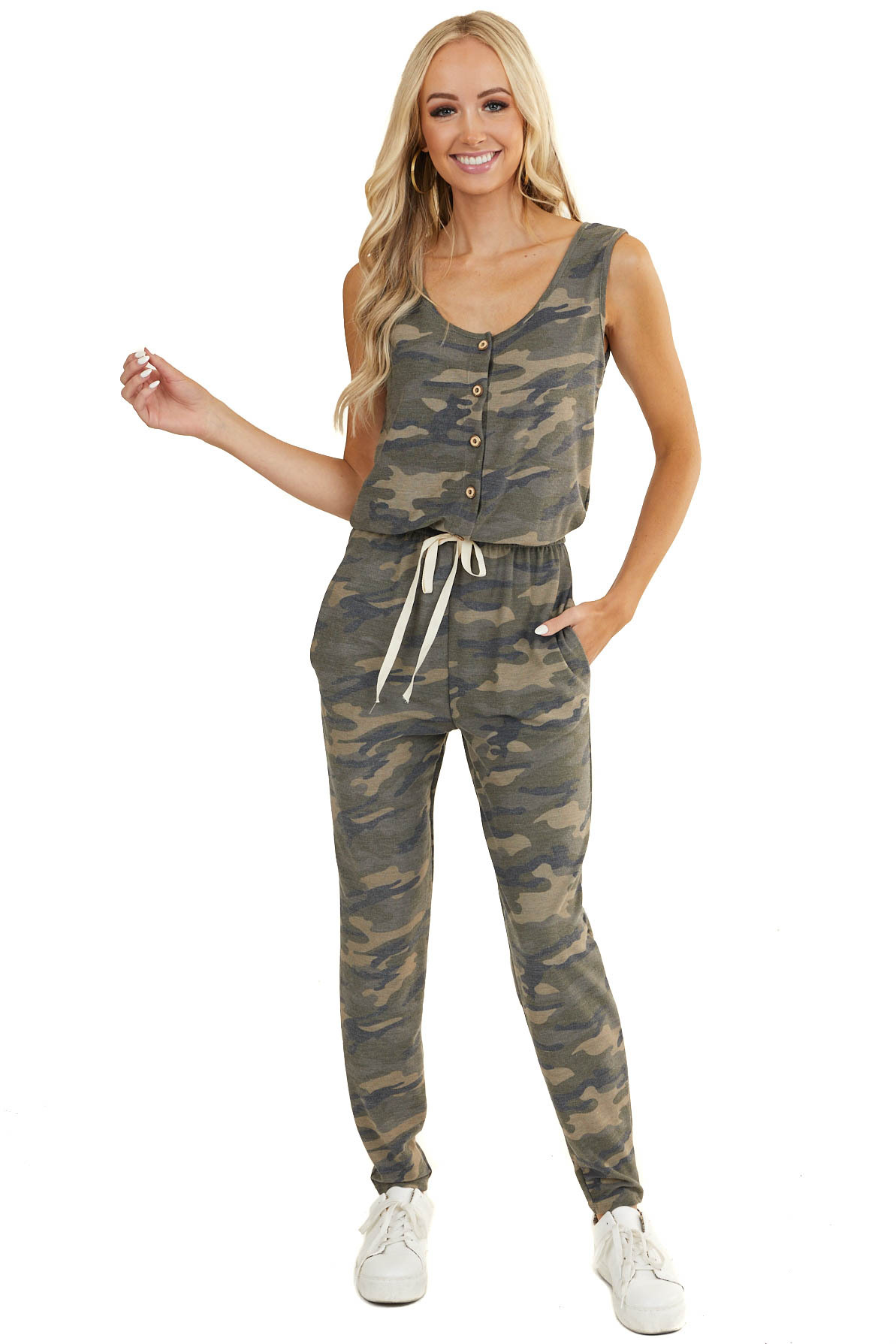 Olive Camo Sleeveless Jumpsuit with Button and Tie Details
