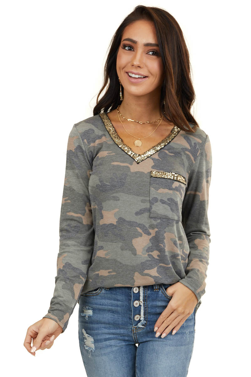 Sage Camo Print Long Sleeve Top with Gold Sequin Contrast