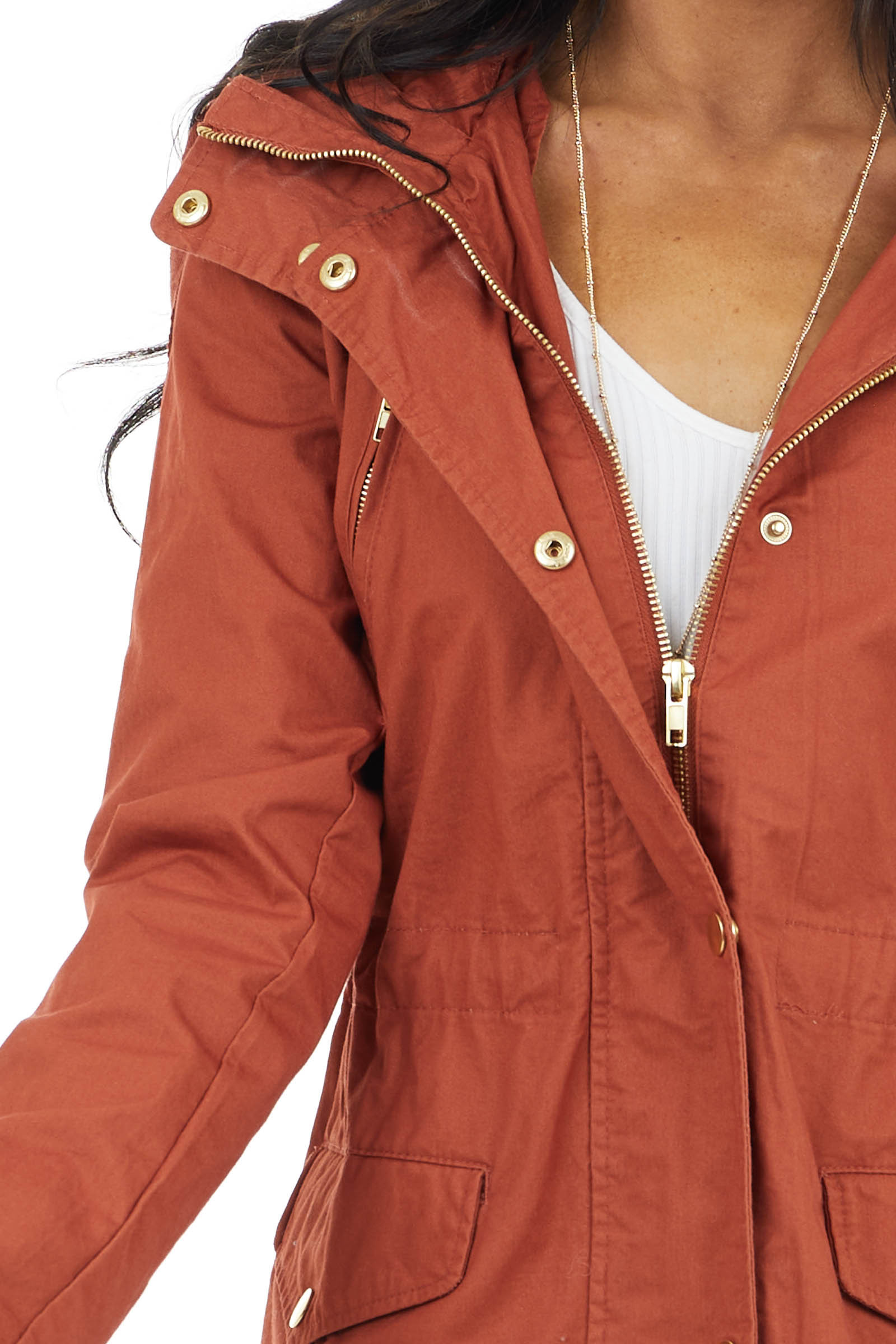 Rust Utility Jacket with Hood and Gold Button Detail