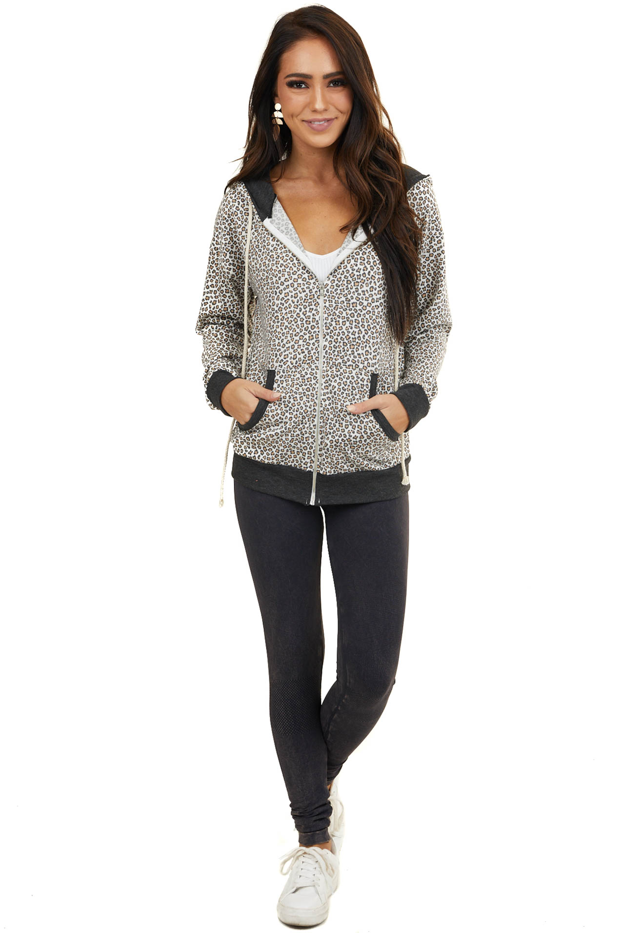 Ivory Leopard Print Hooded Jacket with Charcoal Contrast