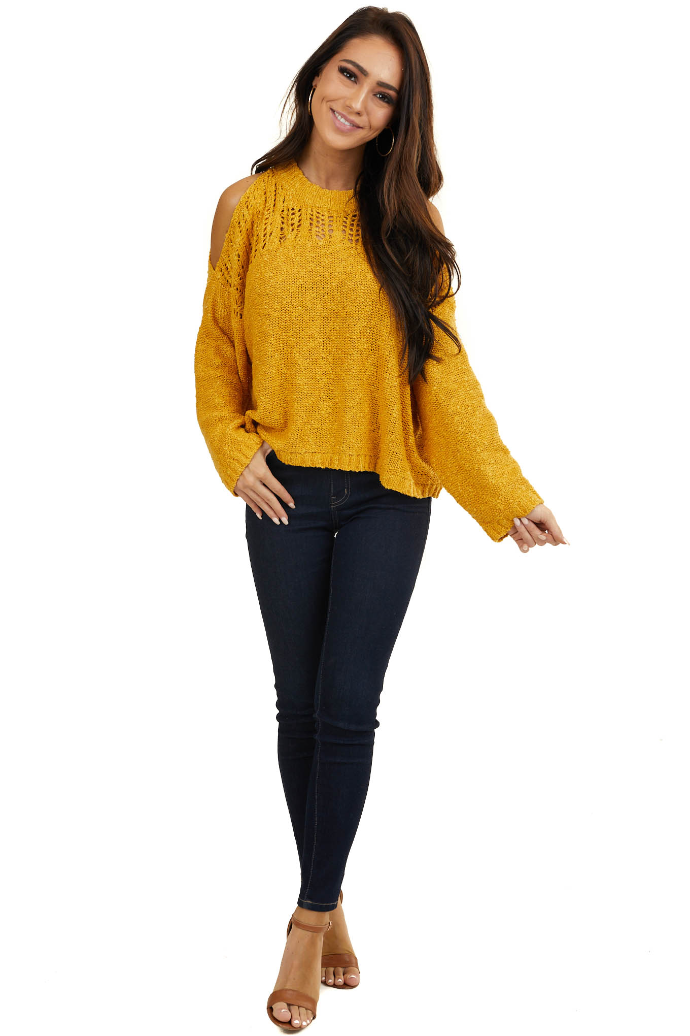 Mustard Yellow Cropped Knit Sweater with Cold Shoulders