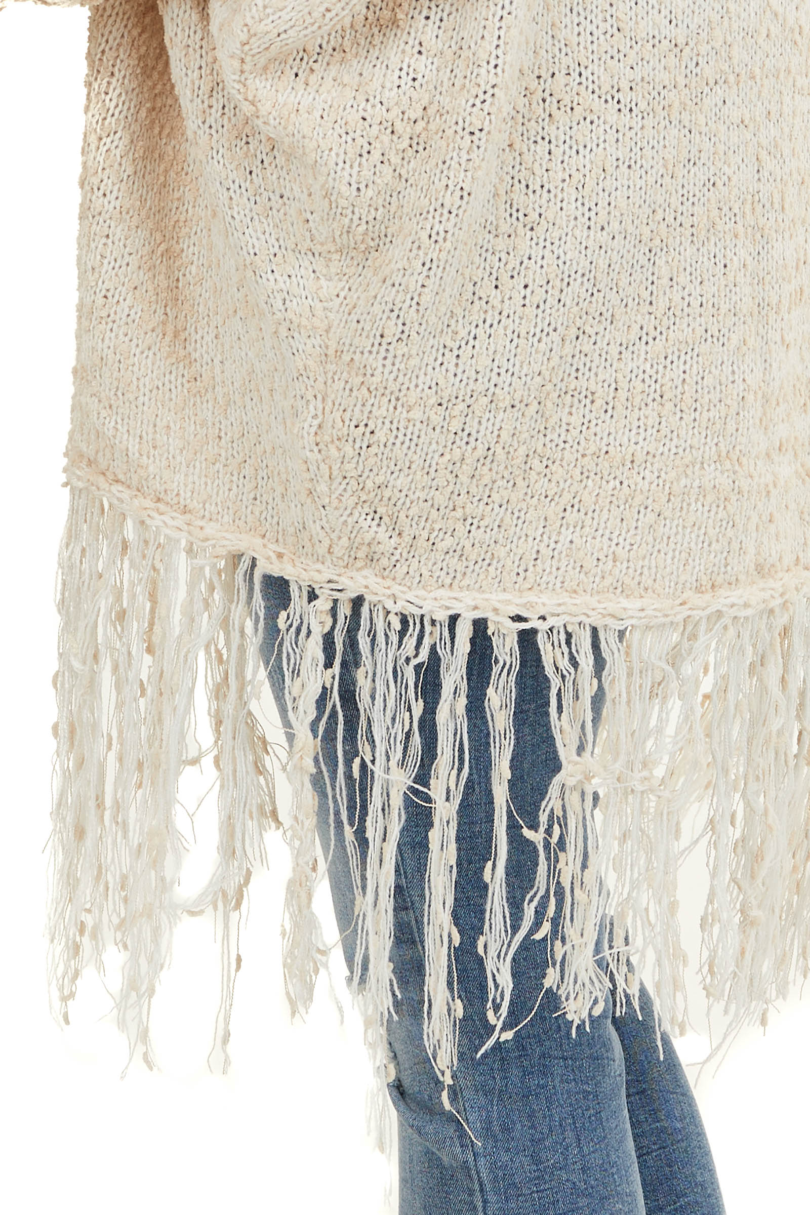 Beige and Cream Dolman Sleeve Cardigan with Fringe Details
