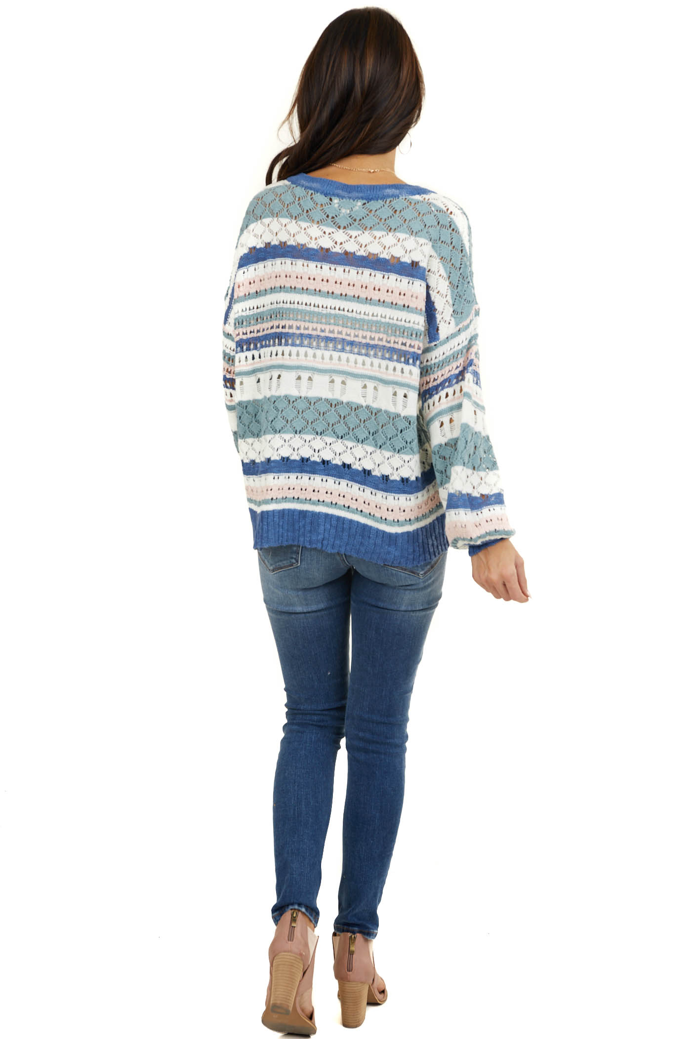 Cornflower Striped Loose Knit Sweater with Bubble Sleeves