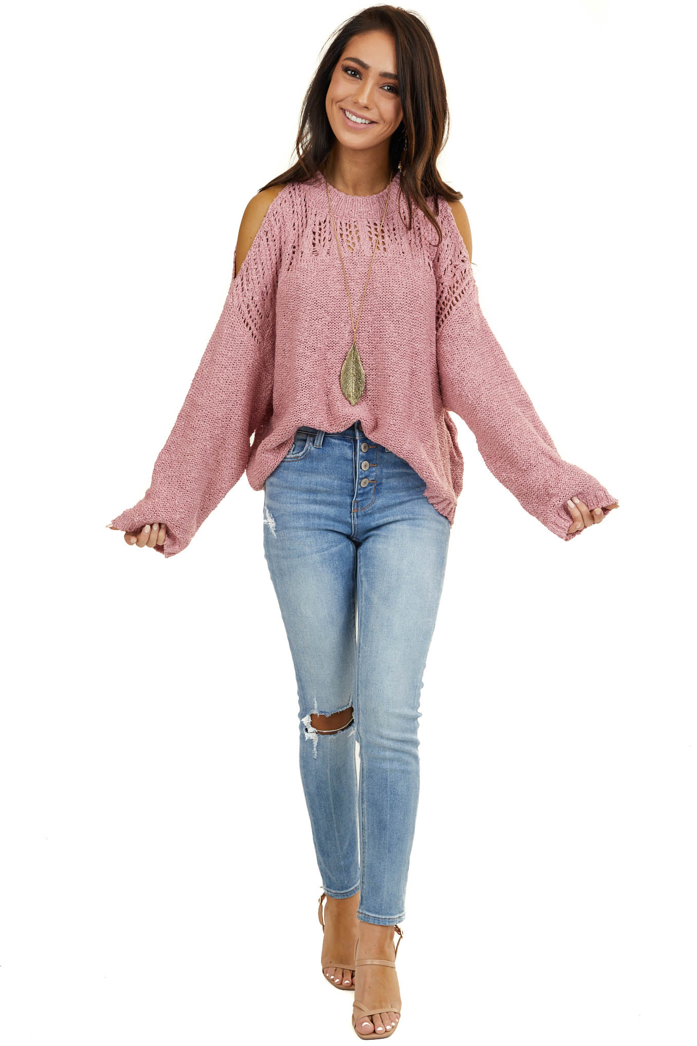 Dusty Blush Cropped Knit Sweater with Cold Shoulders