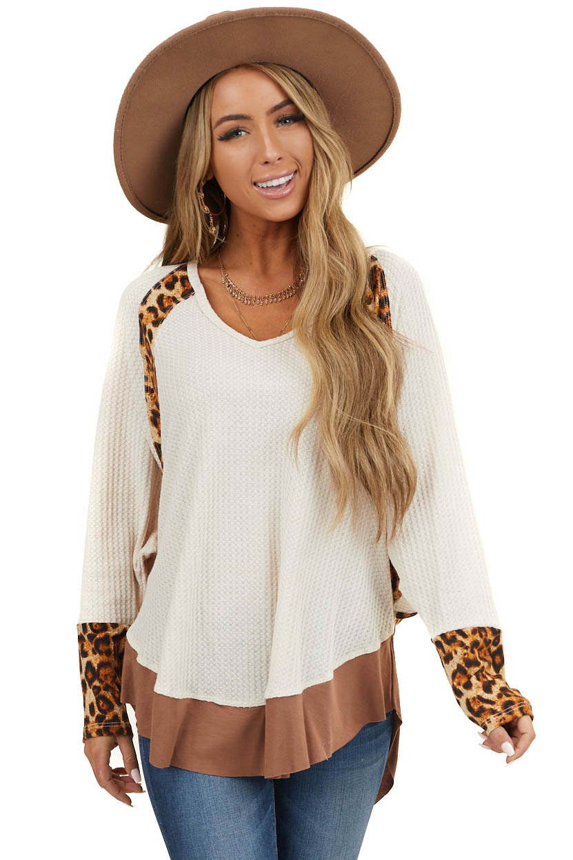 Cream Long Sleeve Waffle Knit Top with Leopard Contrast