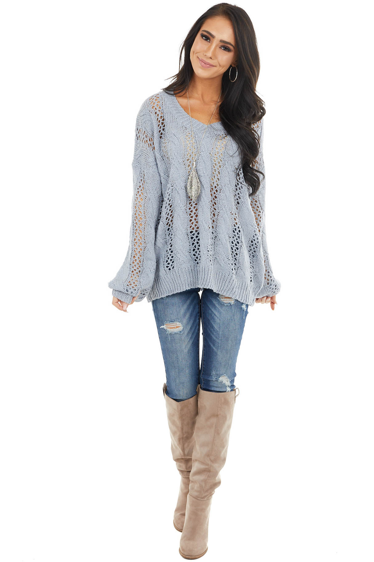 Slate Blue Lightweight Cable Knit Sweater with V Neckline