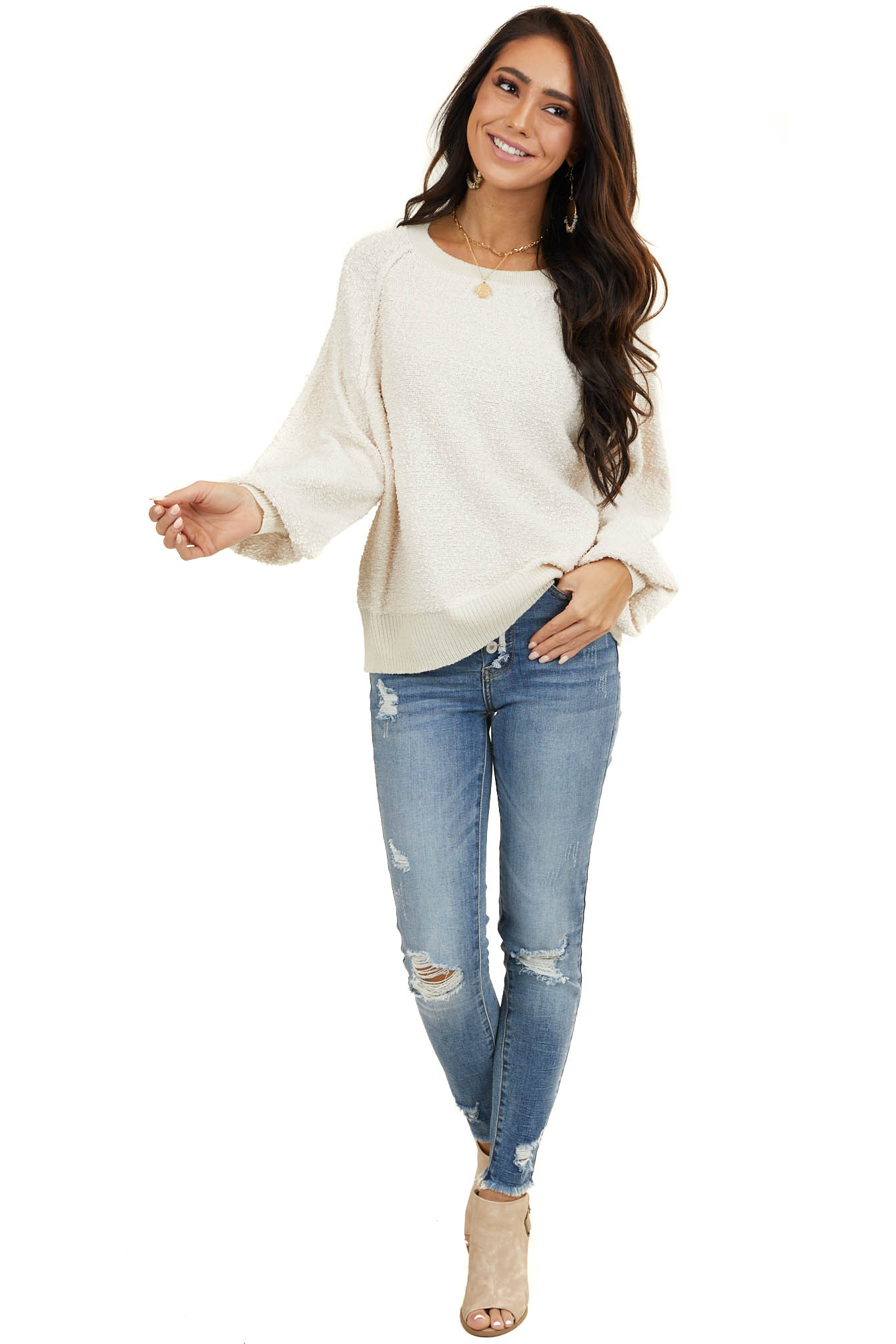 Cream Textured Knit Sweater with Long Bubble Sleeves