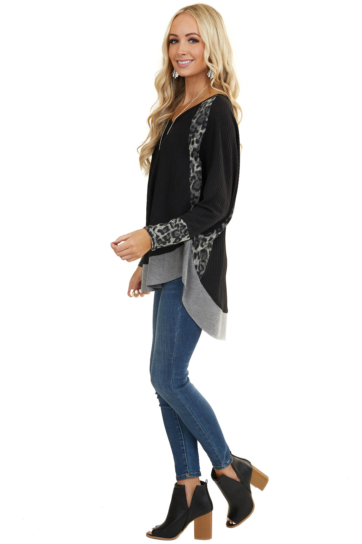 Black Long Sleeve Waffle Knit Top with Leopard Contrast