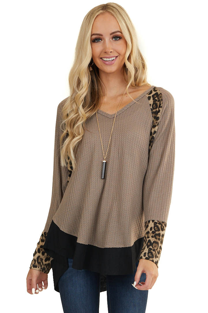 Taupe Long Sleeve Waffle Knit Top with Leopard Contrast