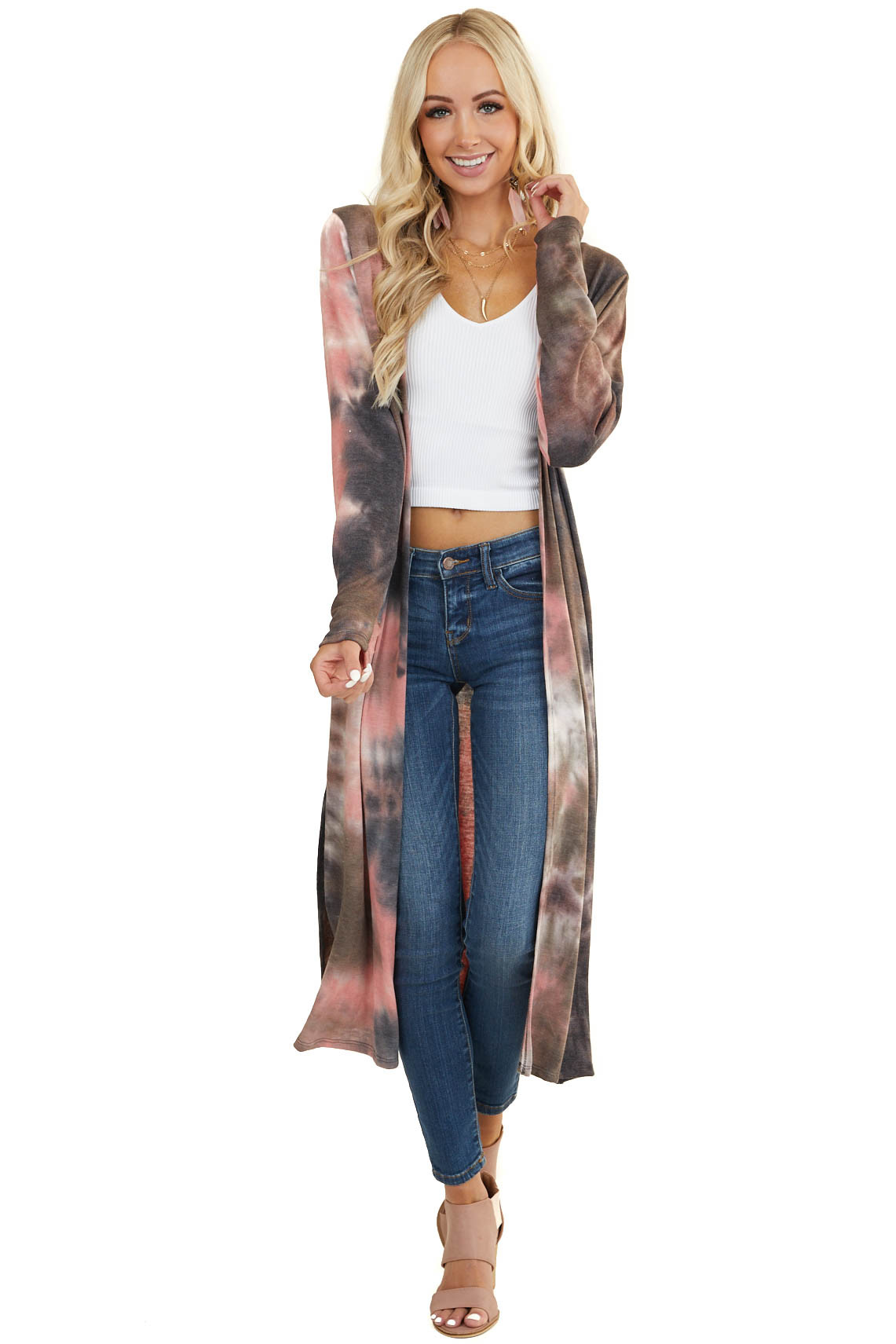 Chocolate Multicolor Tie Dye Long Sleeve Duster Cardigan