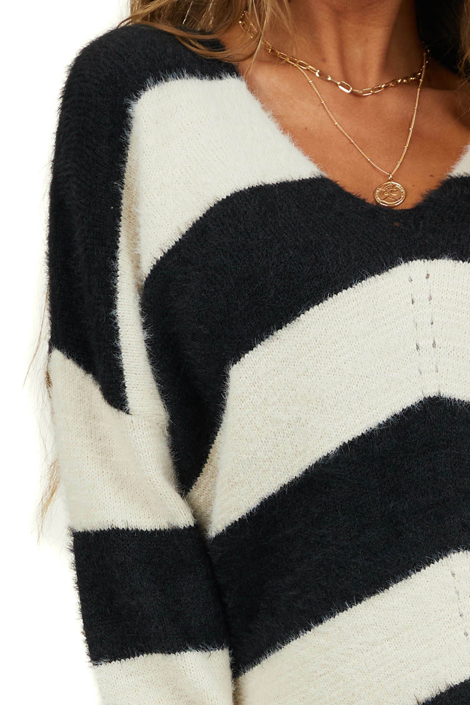 Black and Ivory Stripe Print Knit Sweater with V Neckline