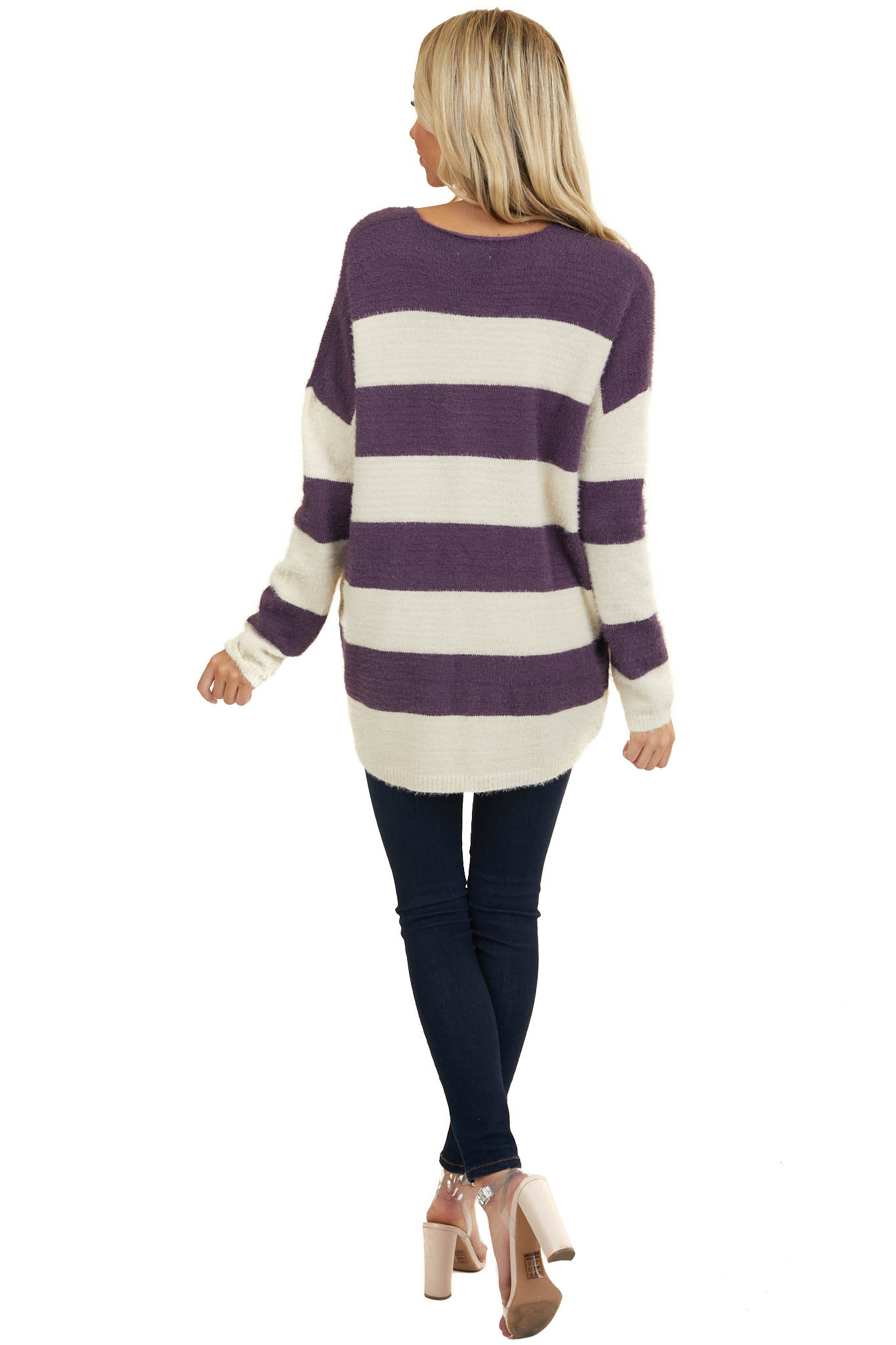 Indigo and Ivory Stripe Print Knit Sweater with V Neckline
