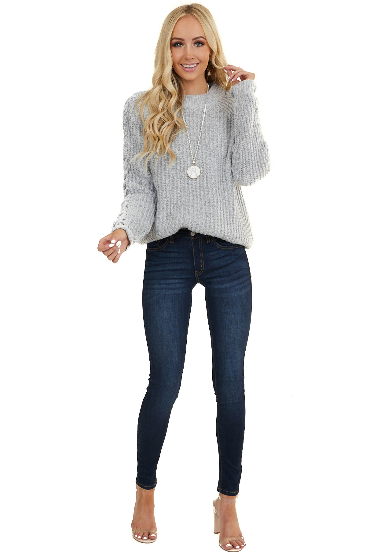 Heather Grey Chunky Knit Sweater with Criss Cross Sleeves
