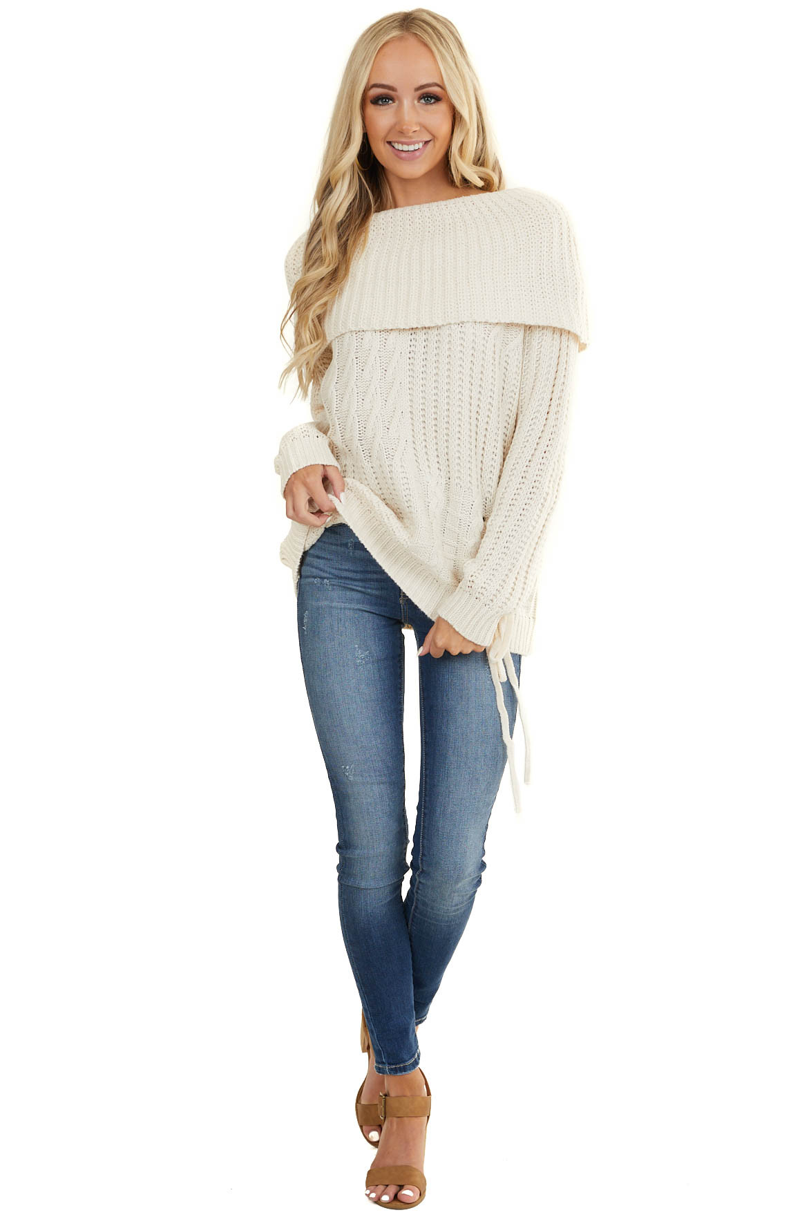 Cream Off the Shoulder Chunky Knit Sweater with Tie Detail