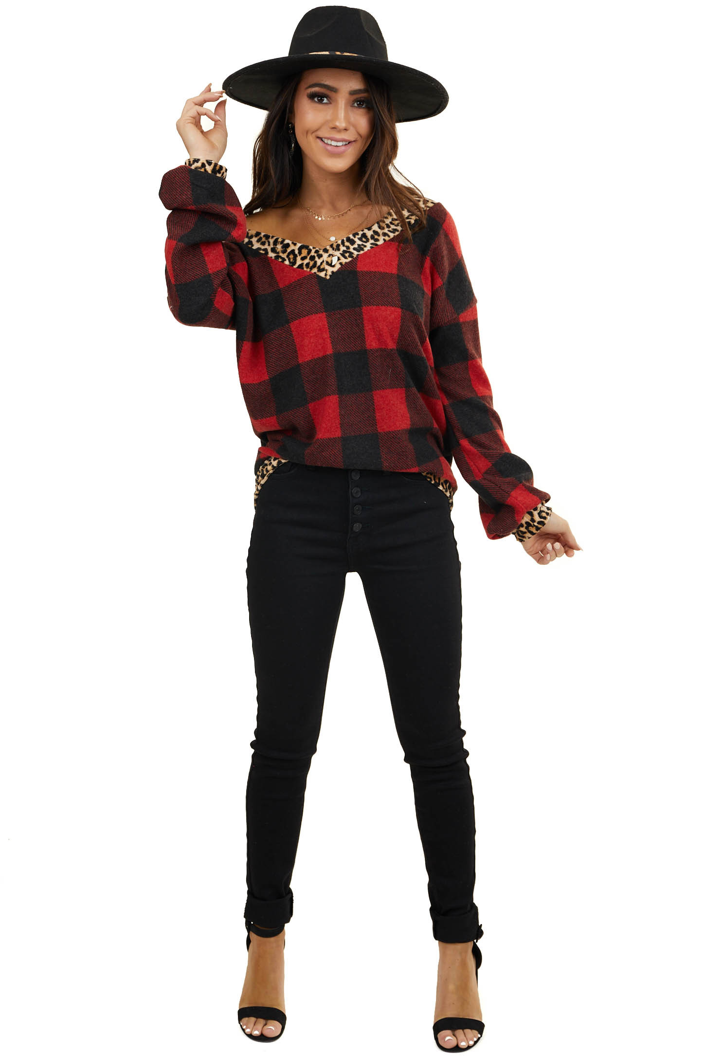 Ruby Red Buffalo Plaid Print Long Sleeve with Leopard Details