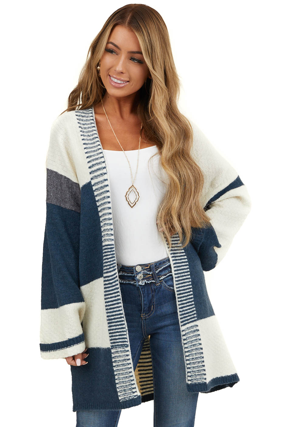 Navy and Cream Colorblock Cardigan with Stripe Detail