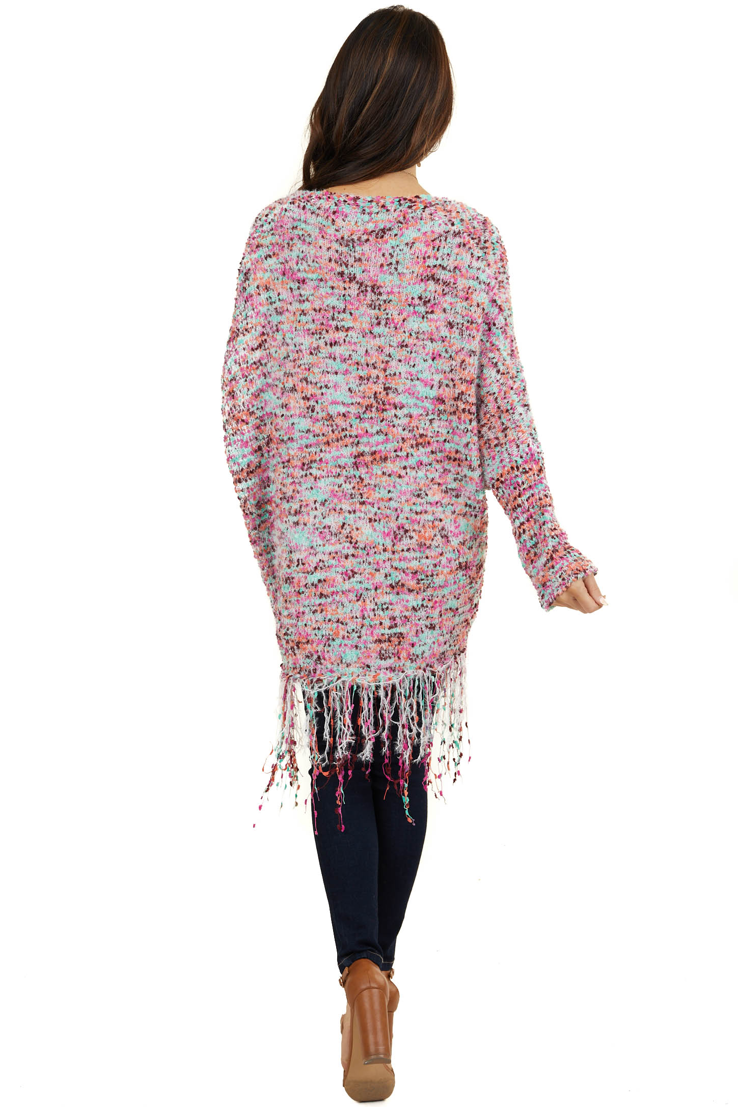 Mint and Fuchsia Confetti Knit Cardigan with Fringe Details
