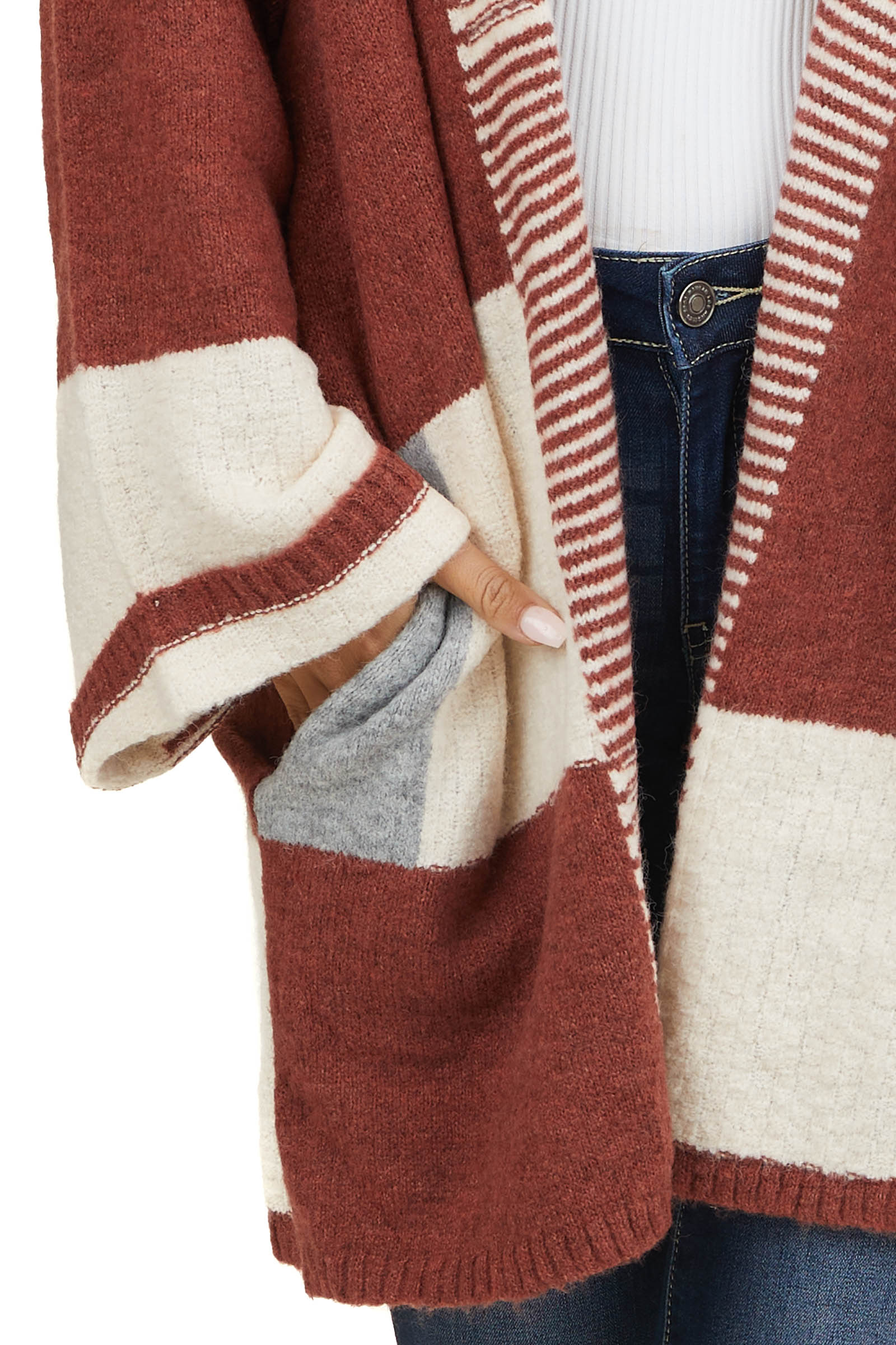 Rust and Cream Colorblock Cardigan with Stripe Detail