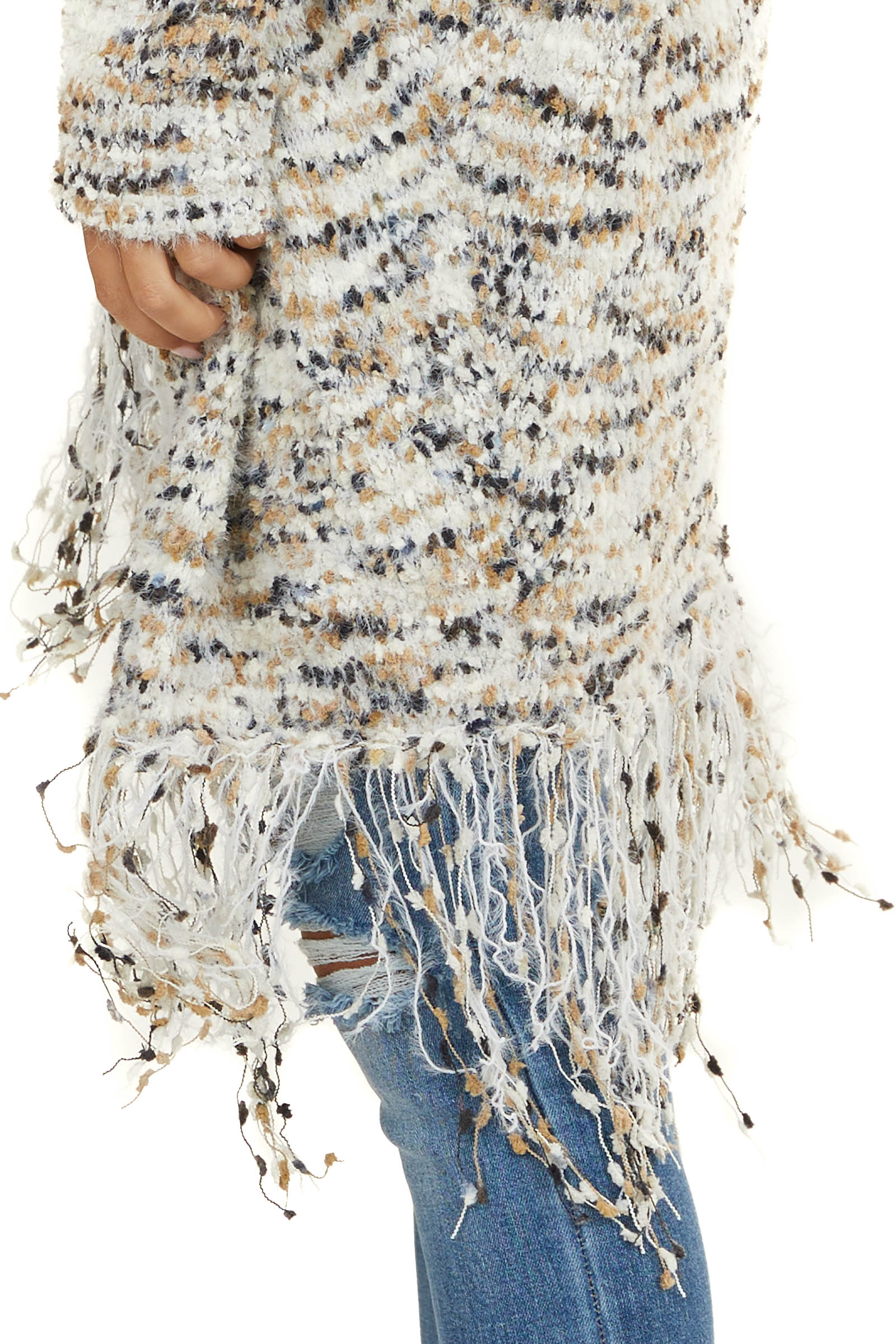 Cream and Camel Confetti Knit Cardigan with Fringe Details