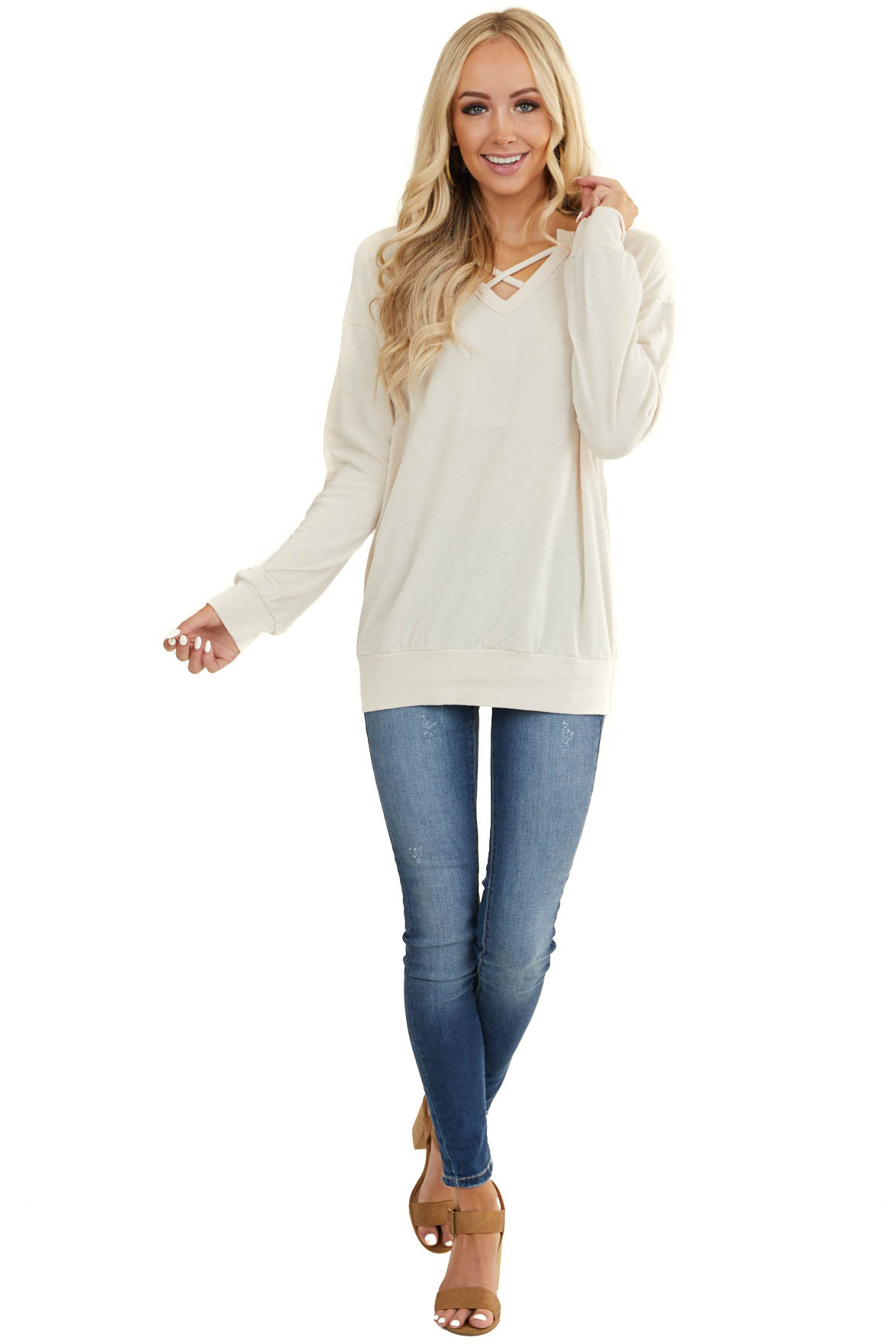 Cream Long Sleeve Knit Top with Criss Cross V Neckline