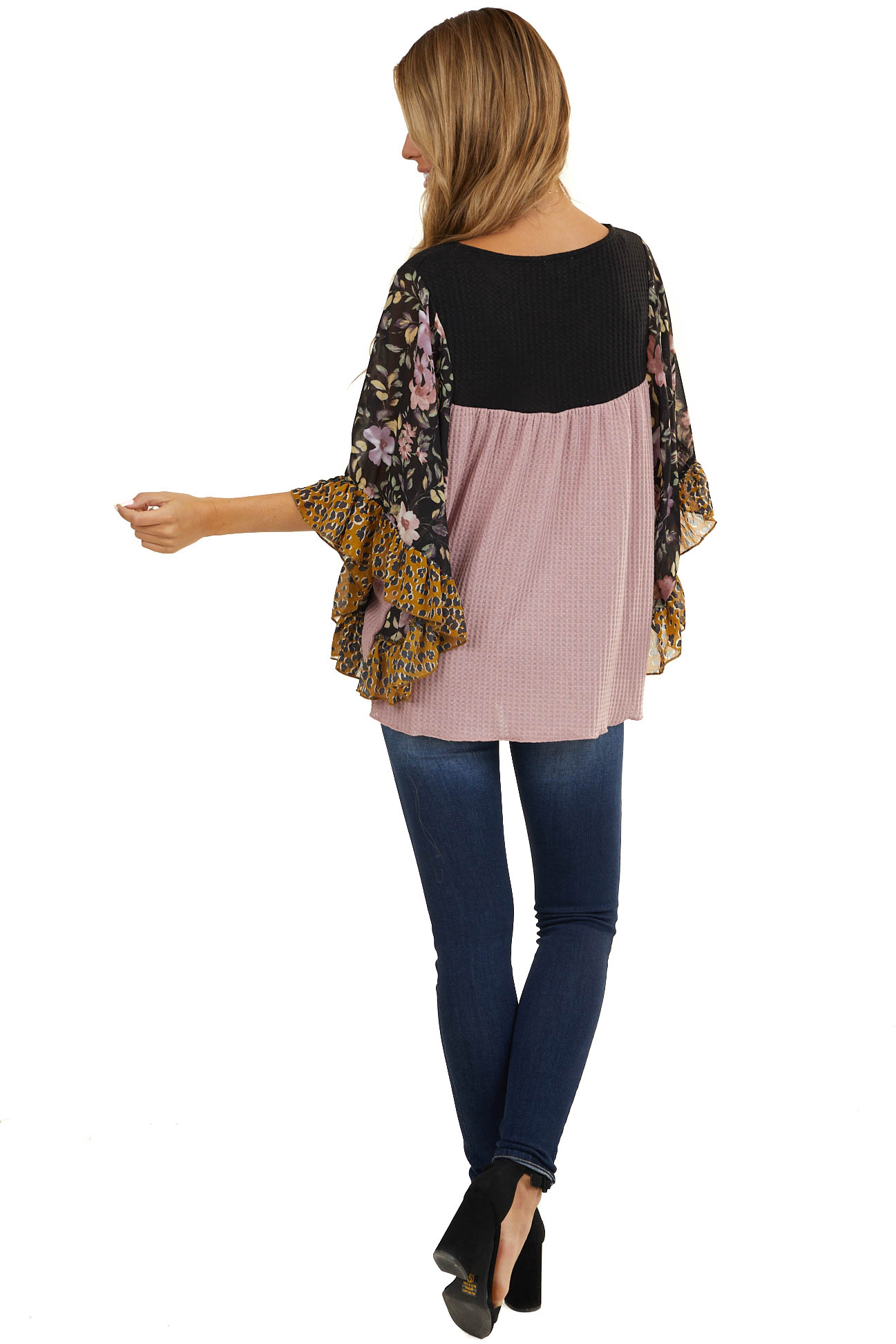 Dusty Blush Waffle Knit with Contrast Floral Batwing Sleeves