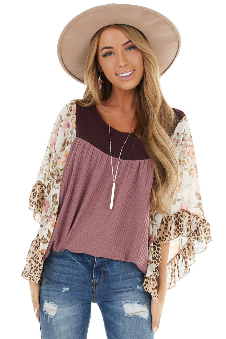Light Plum Waffle Knit with Contrast Floral Batwing Sleeves