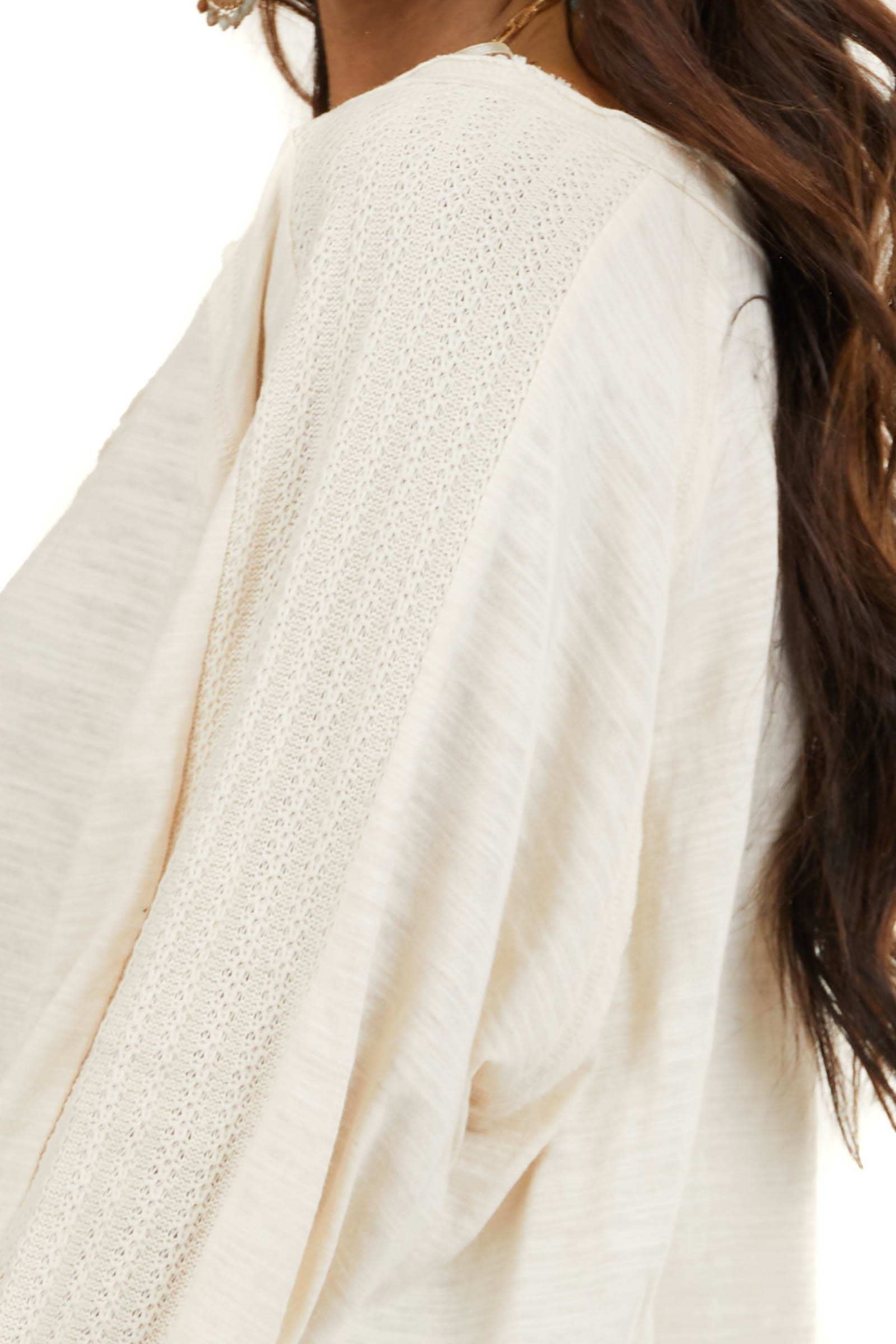 Heathered Cream Knit Top with Contrast Knit Bubble Sleeves