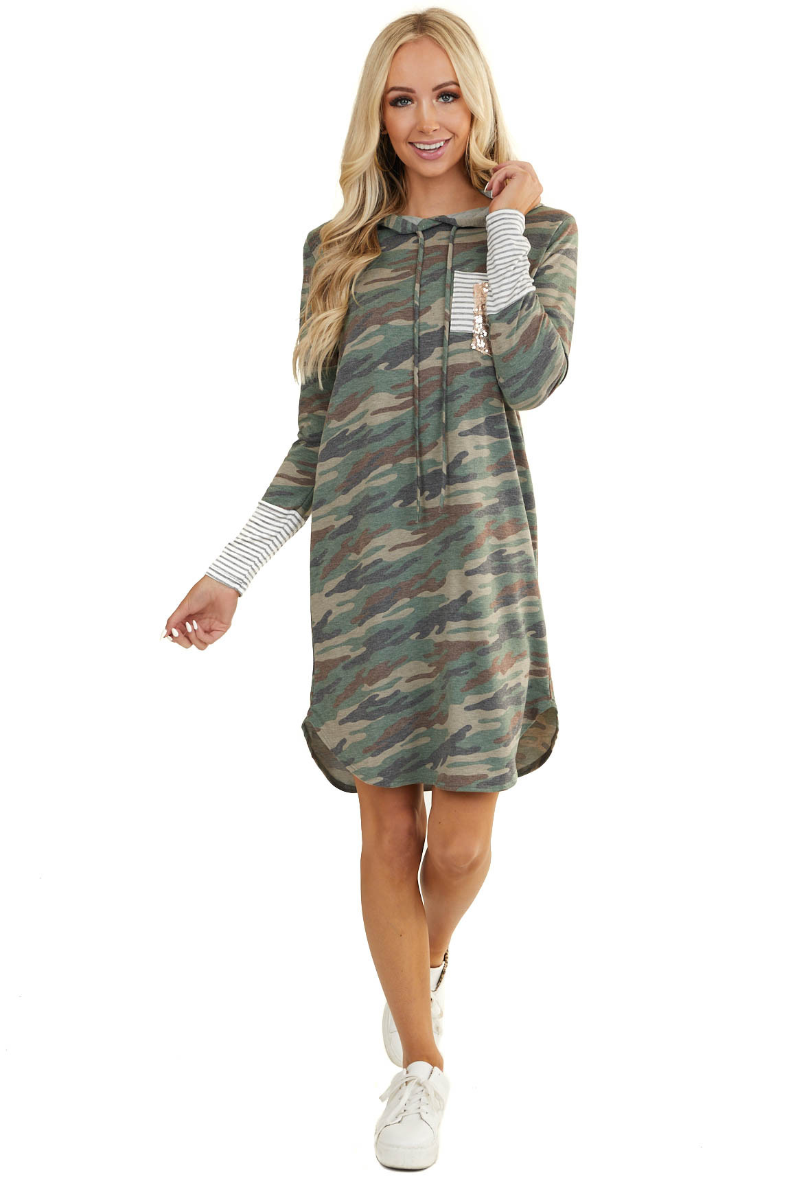 Forest Green Camo Hoodie Dress with Double Chest Pocket