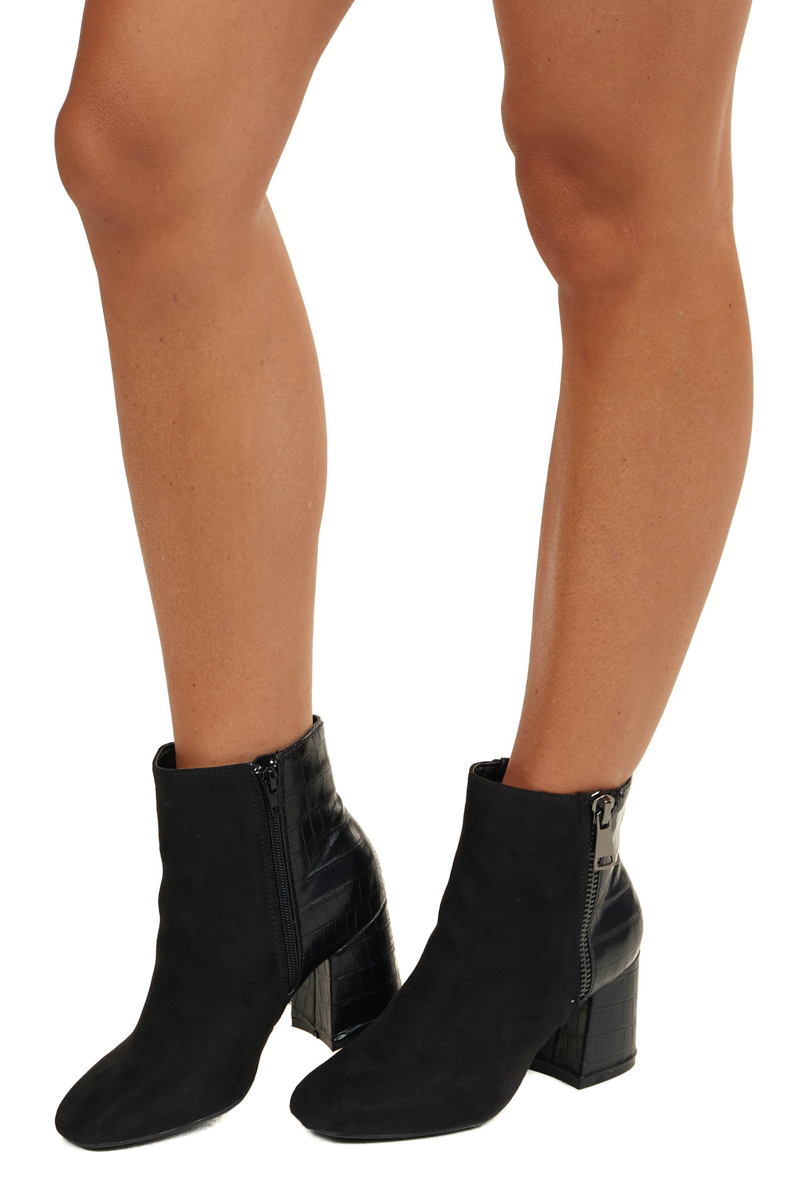 Black Faux Suede and Textured Leather High Heel Booties