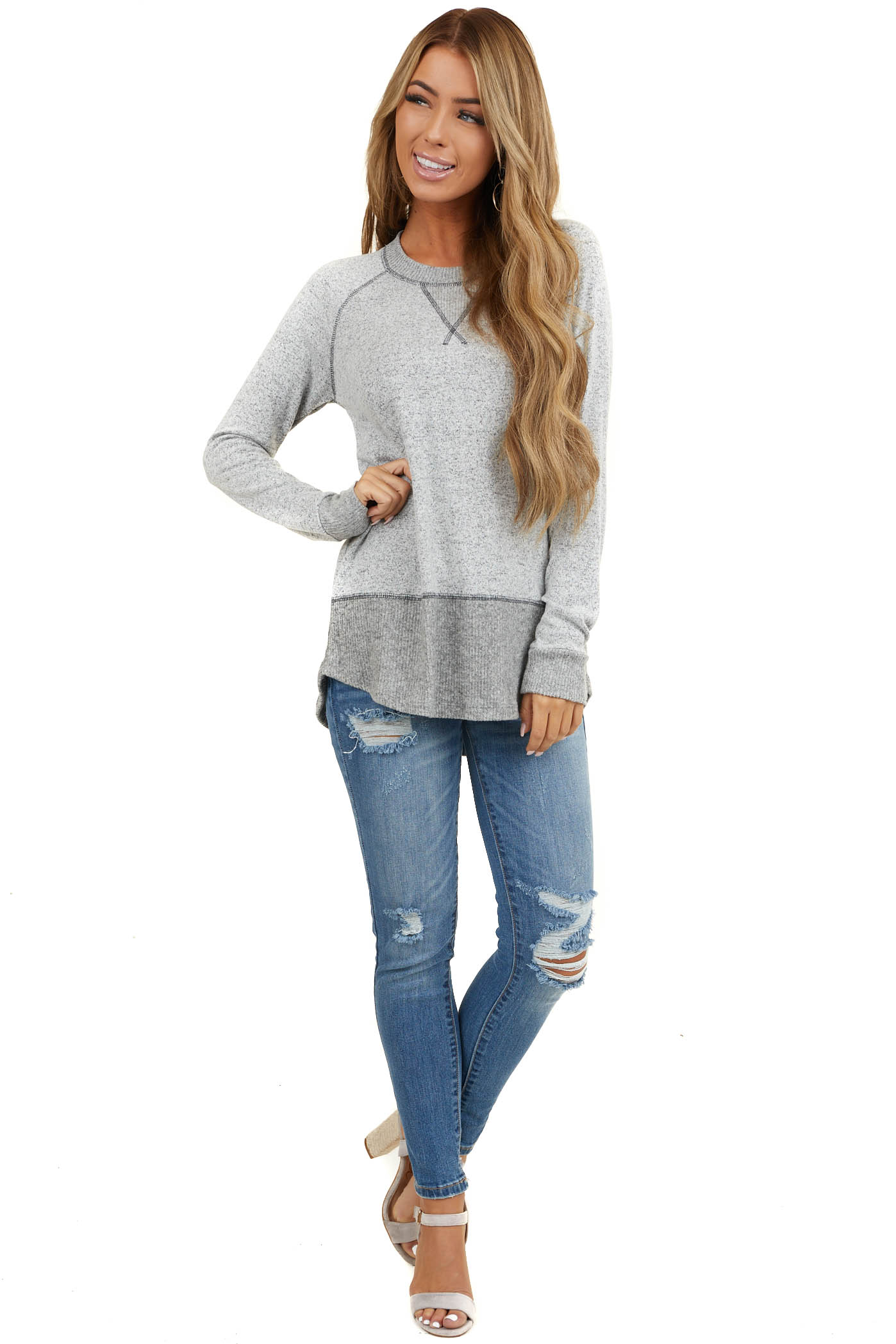 Heathered Grey Long Sleeve Knit Top with Contrasting Details