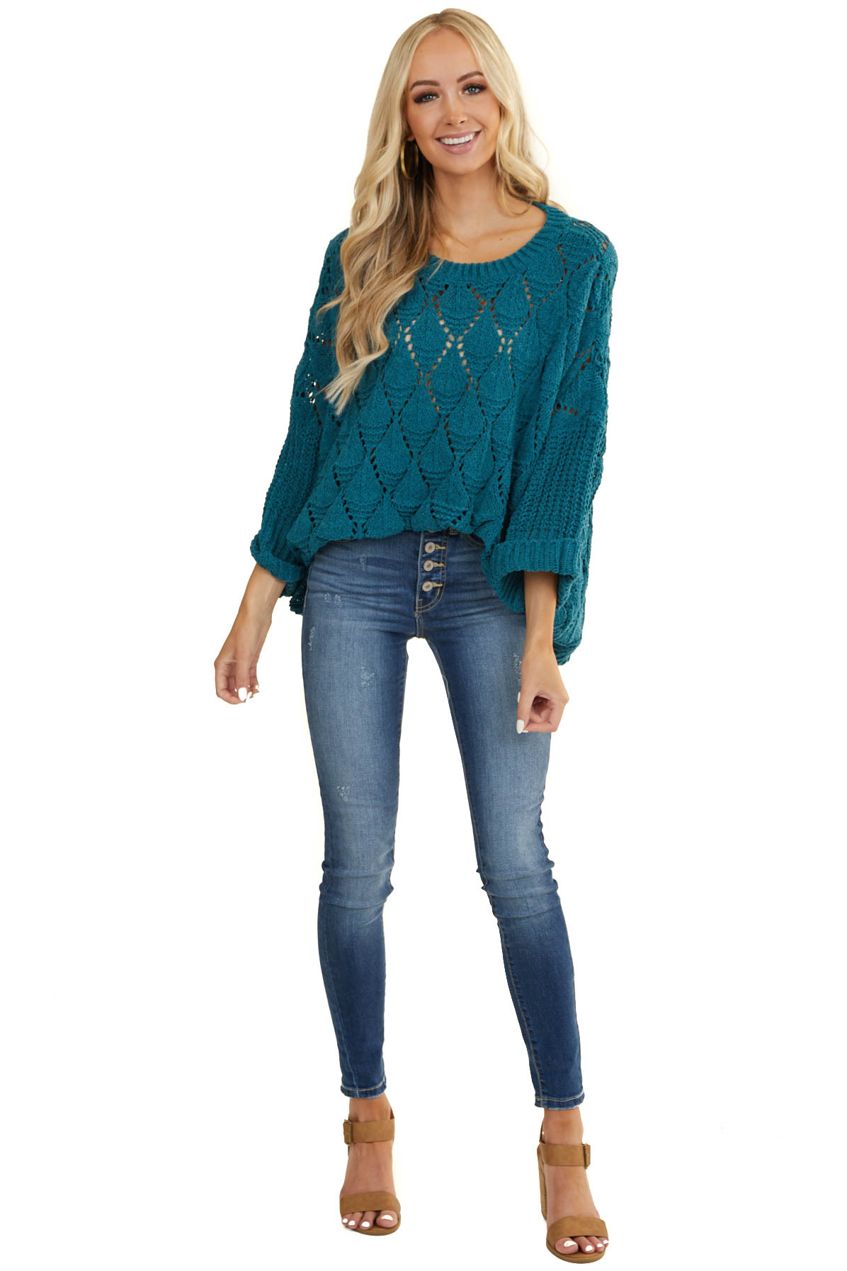 Dark Teal Loose Knit Chenille Sweater with Cuffed Sleeves
