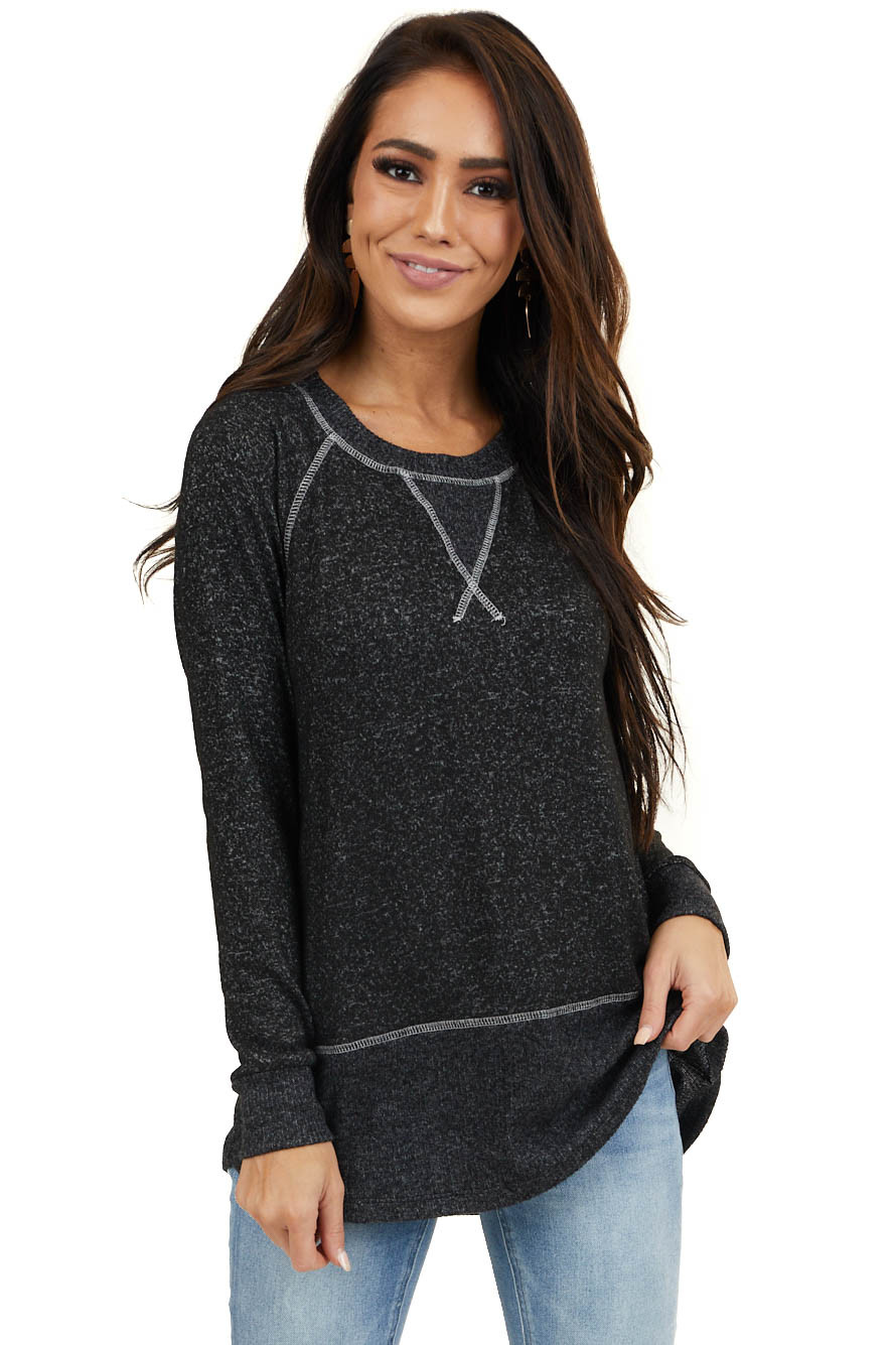Heathered Black Long Sleeve Top with Contrasting Details