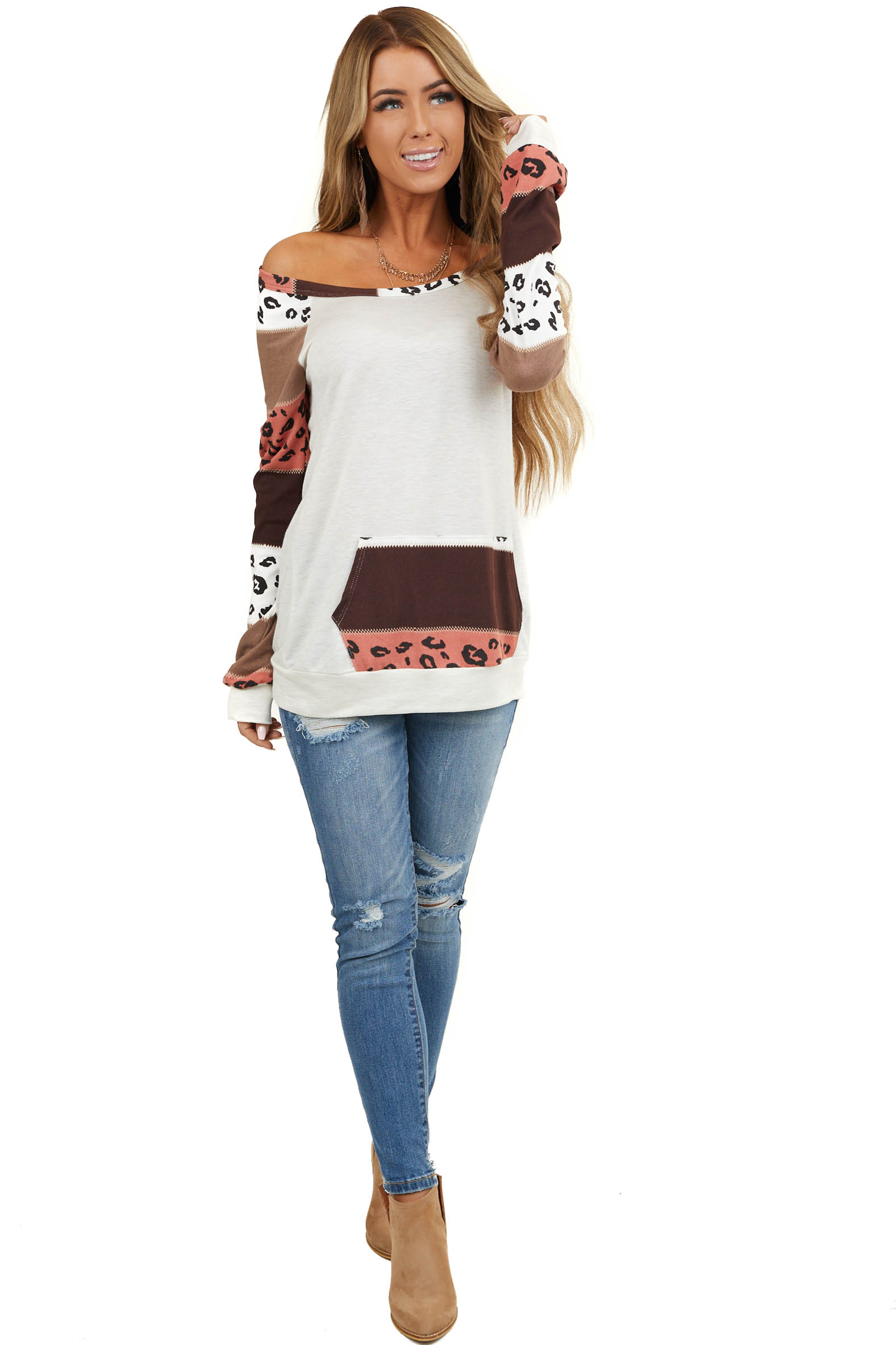 Ivory Kangaroo Pouch Top with Color Block Leopard Contrast