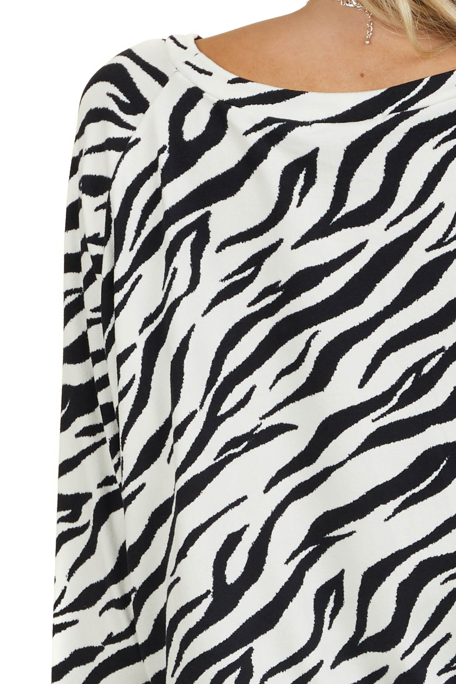 Ivory and Black Zebra Print Top with Long Dolman Sleeves