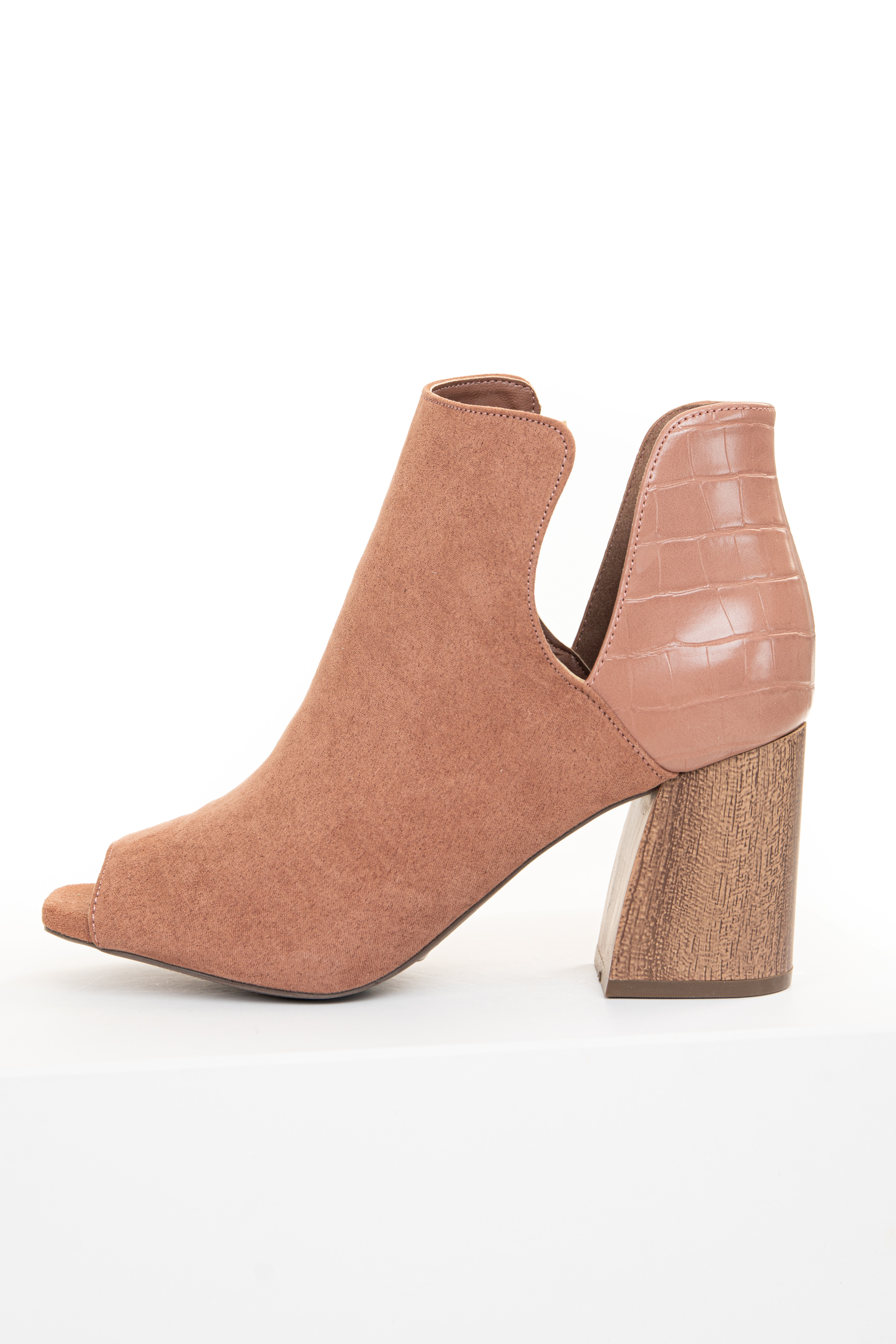 Sienna Faux Suede and Textured Leather Open Toed Booties