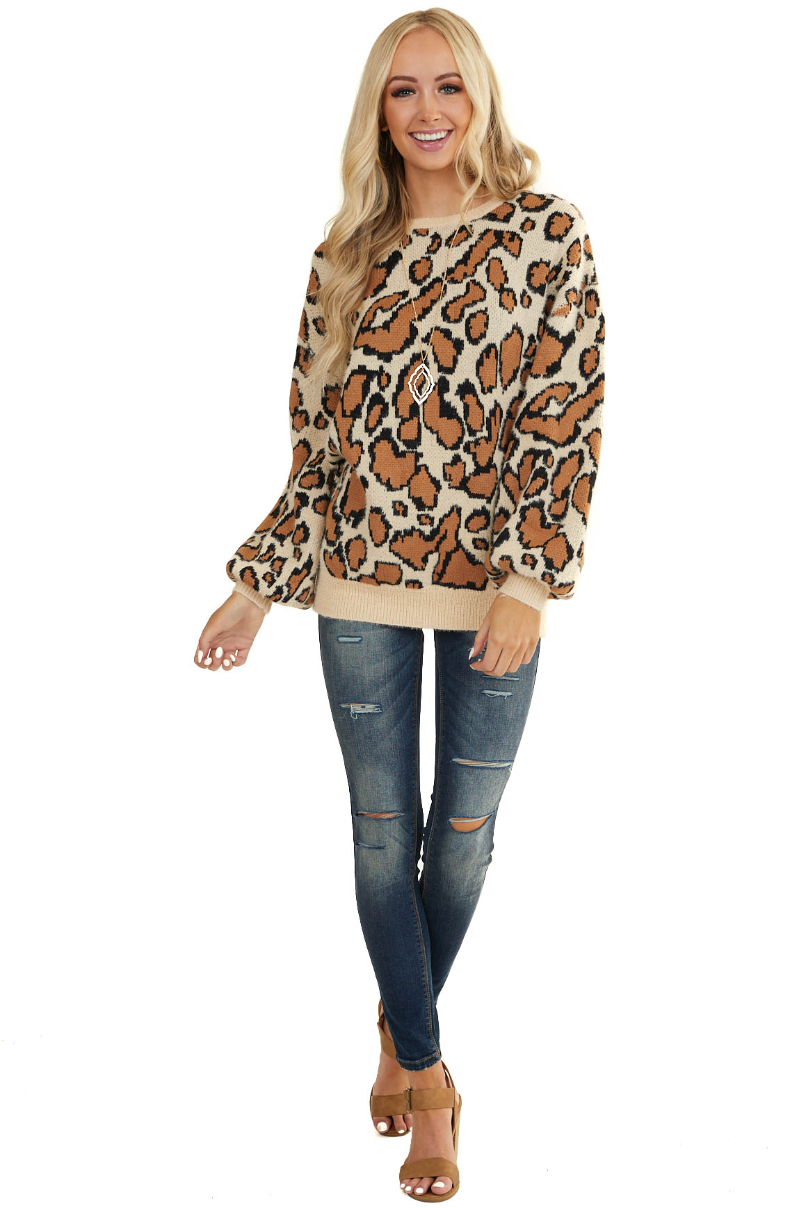Oatmeal Leopard Print Sweater with Long Bubble Sleeves