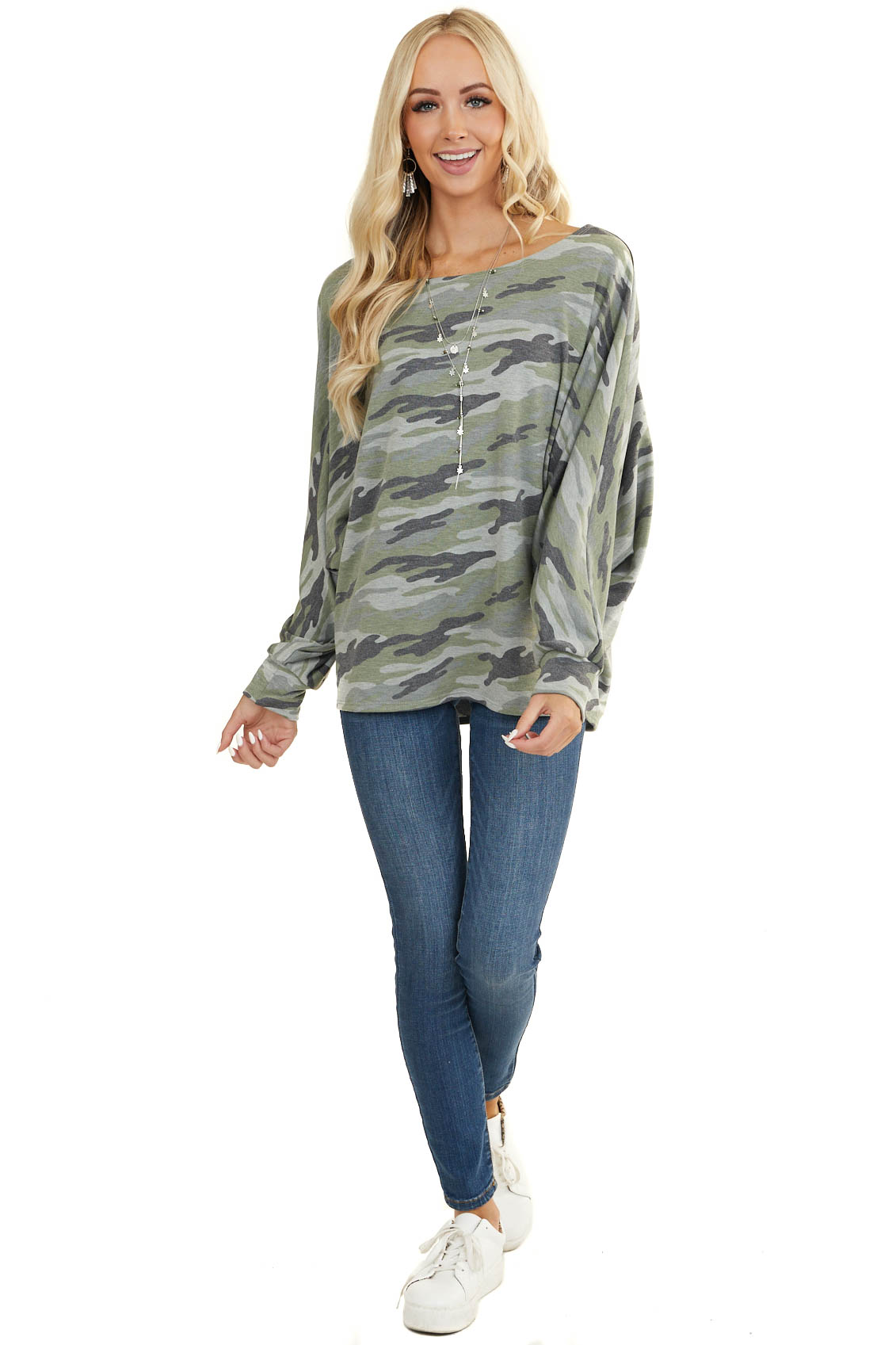 Sage and Grey Camo Knit Top with Long Dolman Sleeves