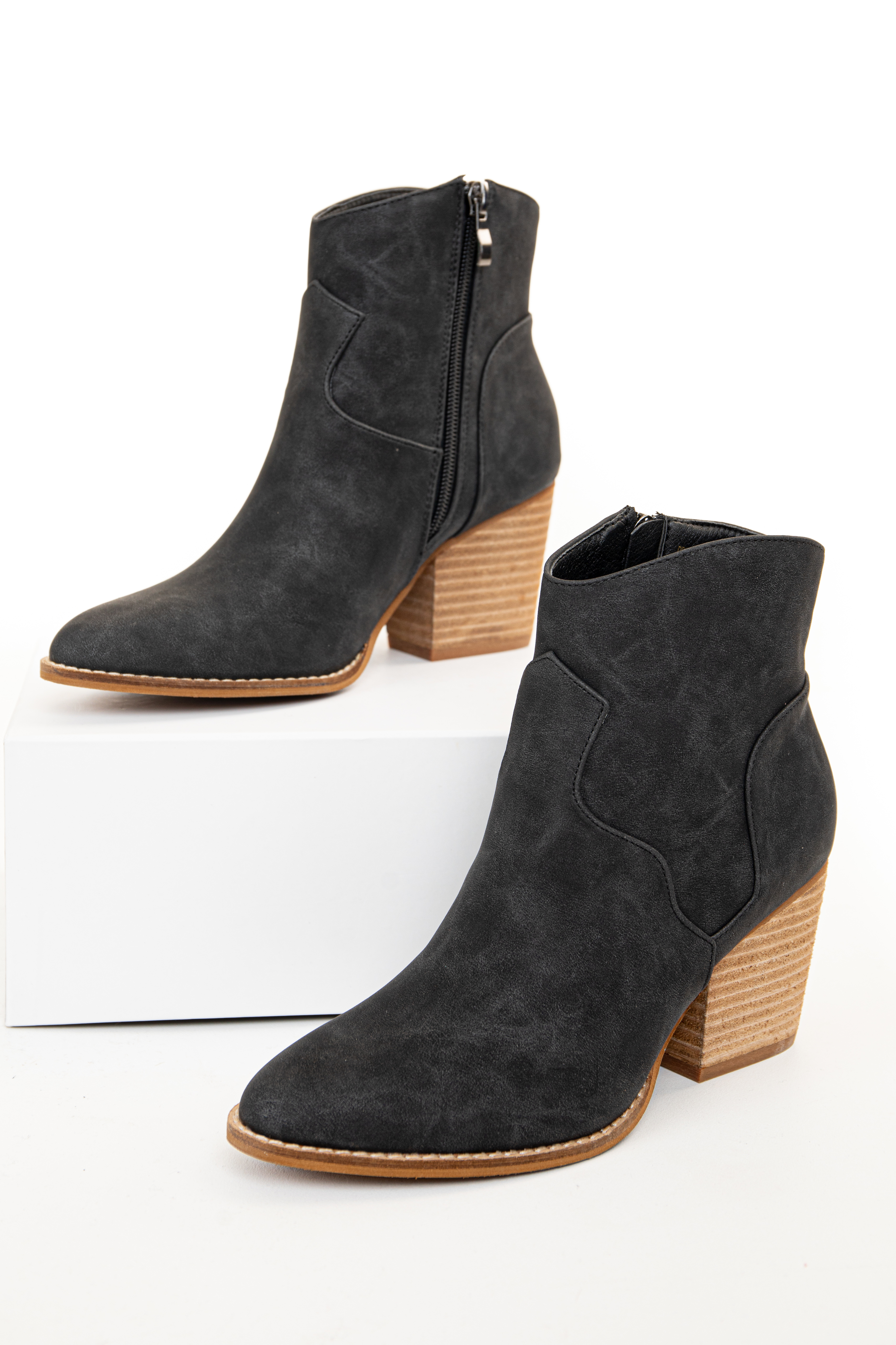 Charcoal Black Faux Suede High Heel Ankle Bootie