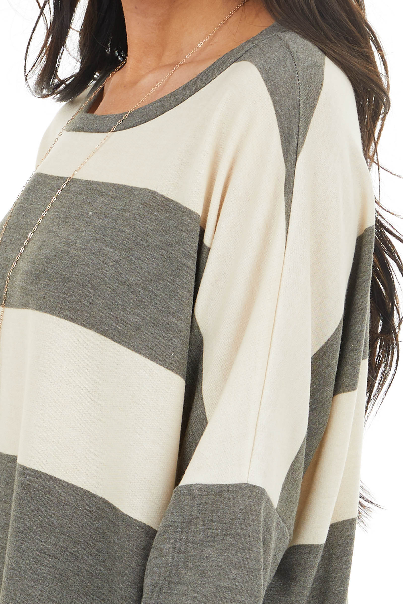 Charcoal and Cream Striped Drop Shoulder Long Sleeve Top